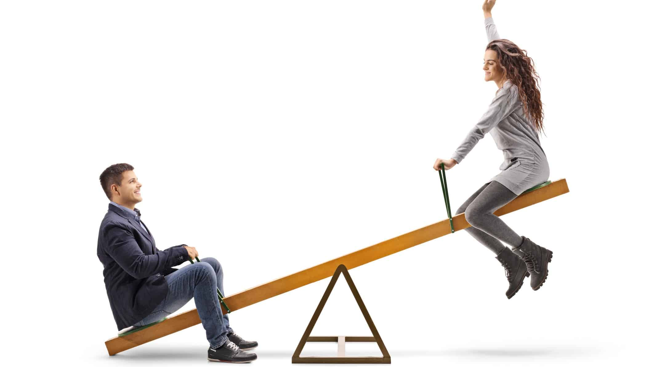 volatile asx share price represented by two investors on a seesaw
