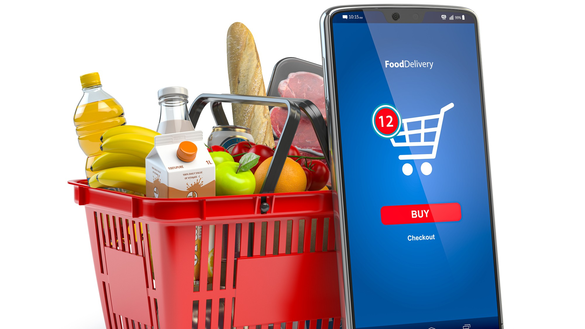 basket of grocery items with smart phone ordering system