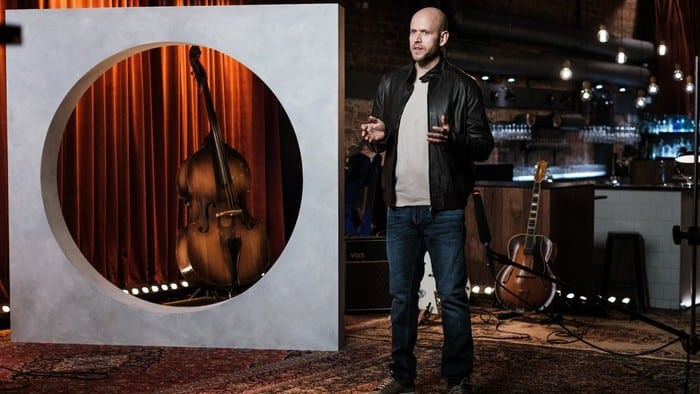 Spotify CEO Daniel Ek at a podcast streaming launch