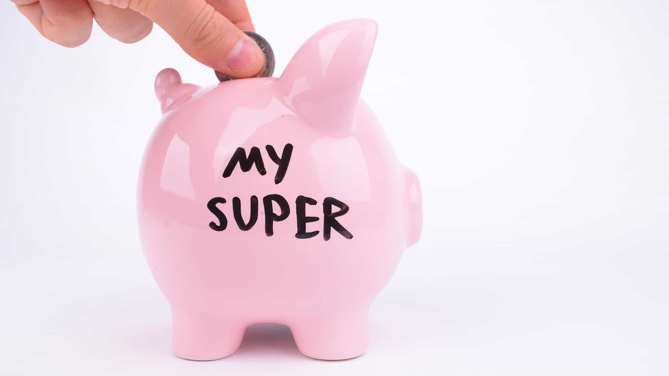 depositing coin into piggy bank for super, invest in super, grow super