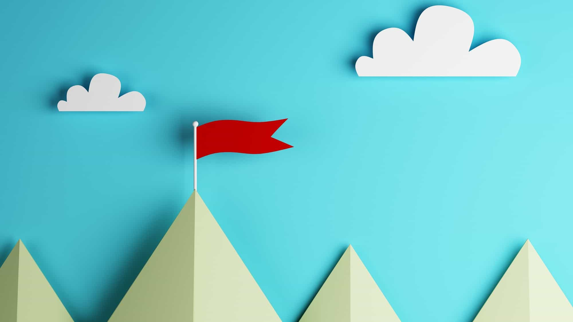 Top asx share price represented by paper cutout image of mountain peaks with red flag
