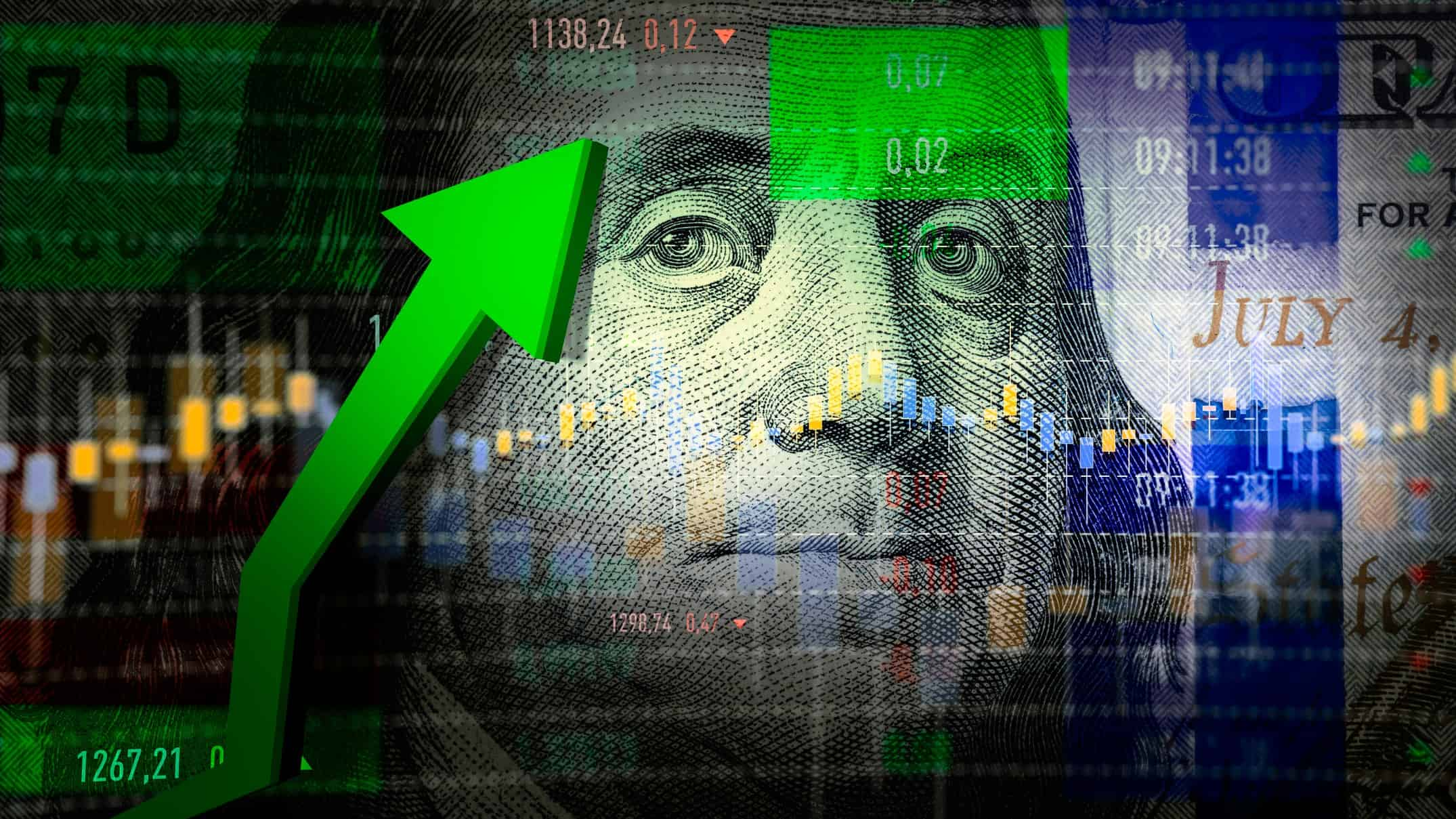 A graphic design of the face of a US dollar bill and a share market graph with a big green arrow indicating a surge in US share prices
