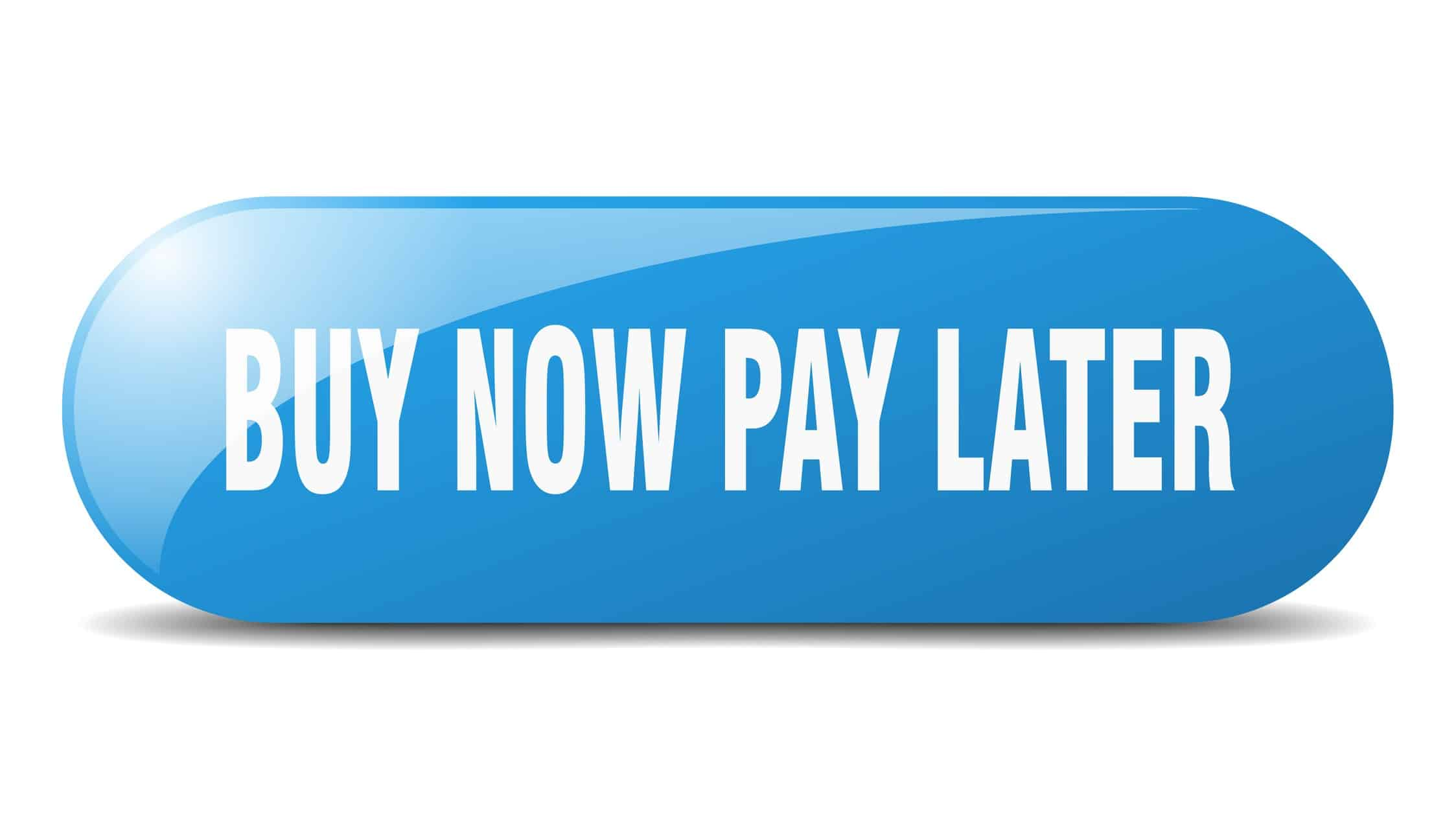 blue graphic containing words buy now pay later