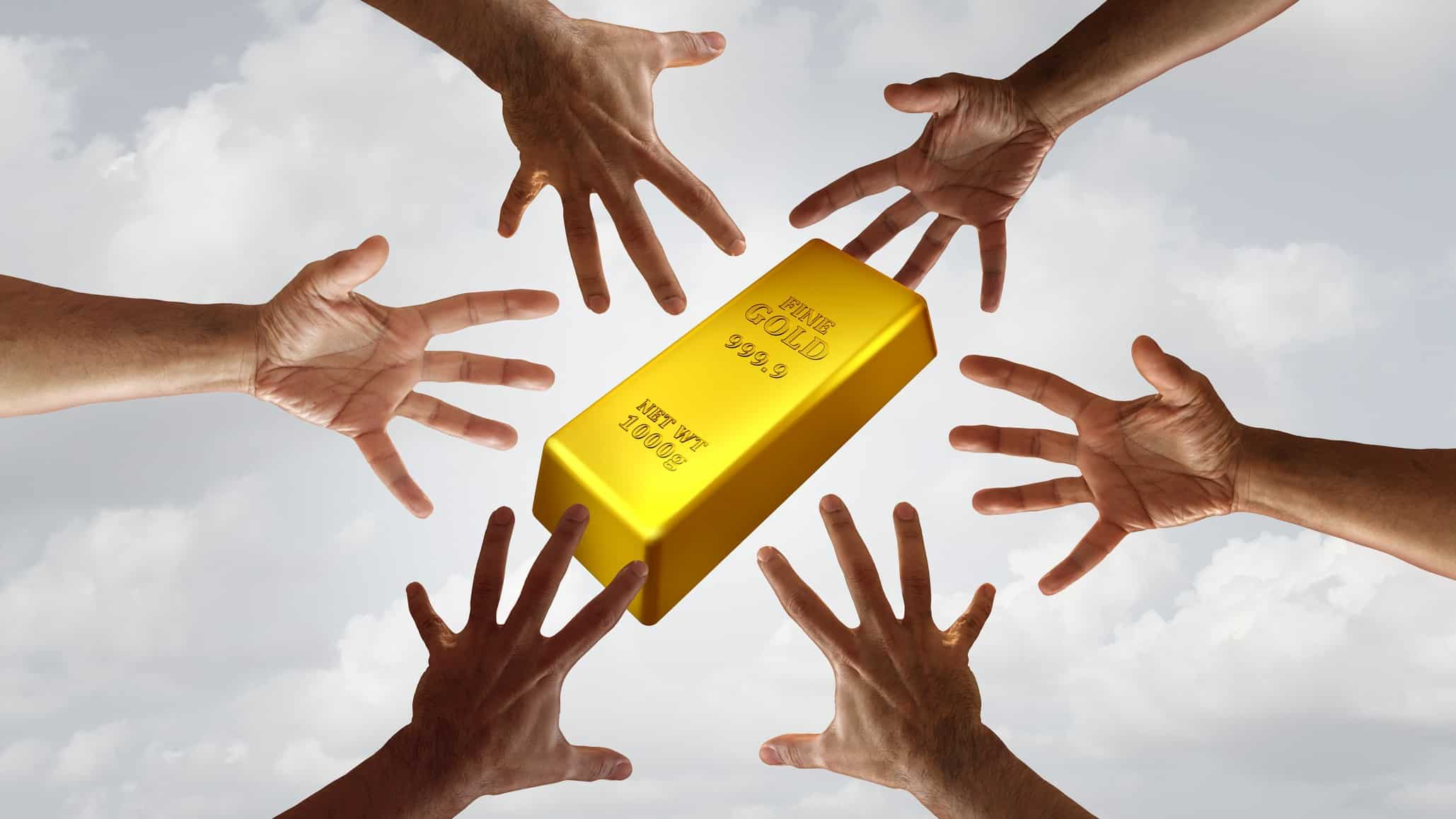 Rising gold asx share price buy represented by multiple hands grabbing at gold bullion