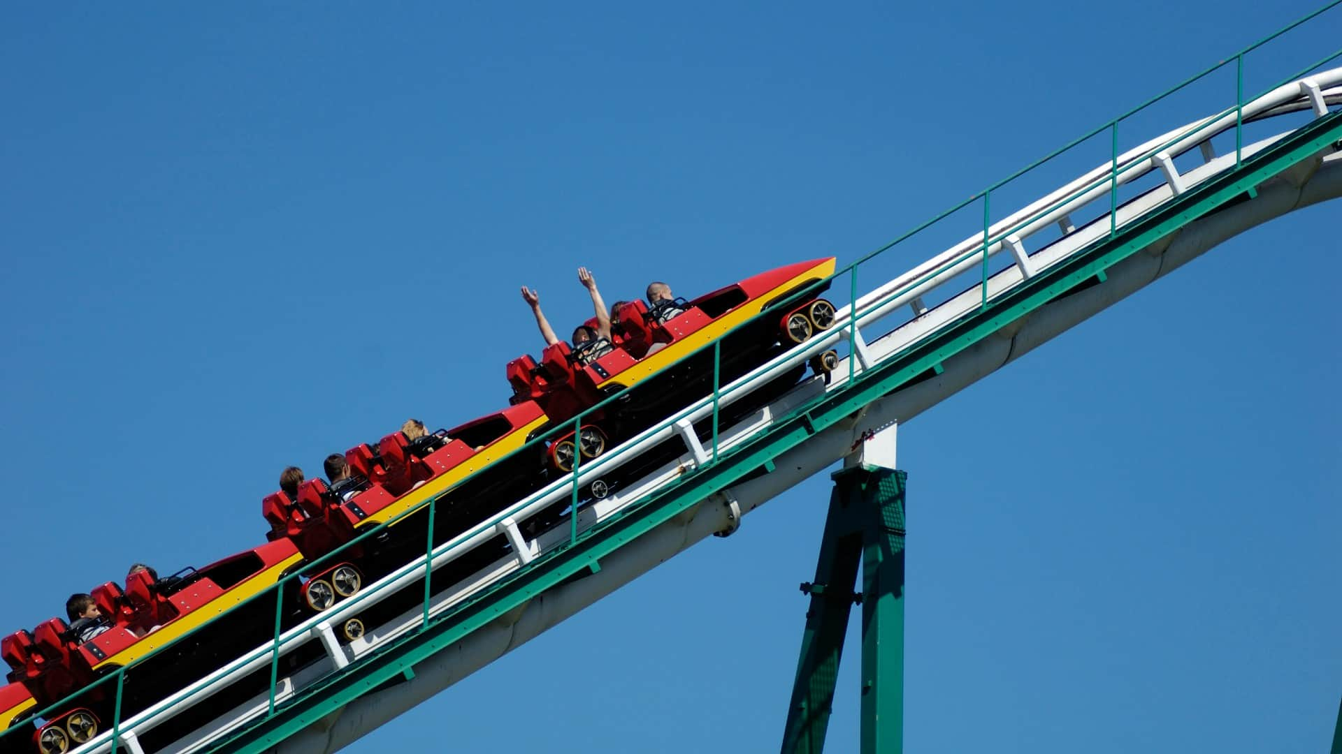 rising asx share price represented by rollercoaster ride climbing higher