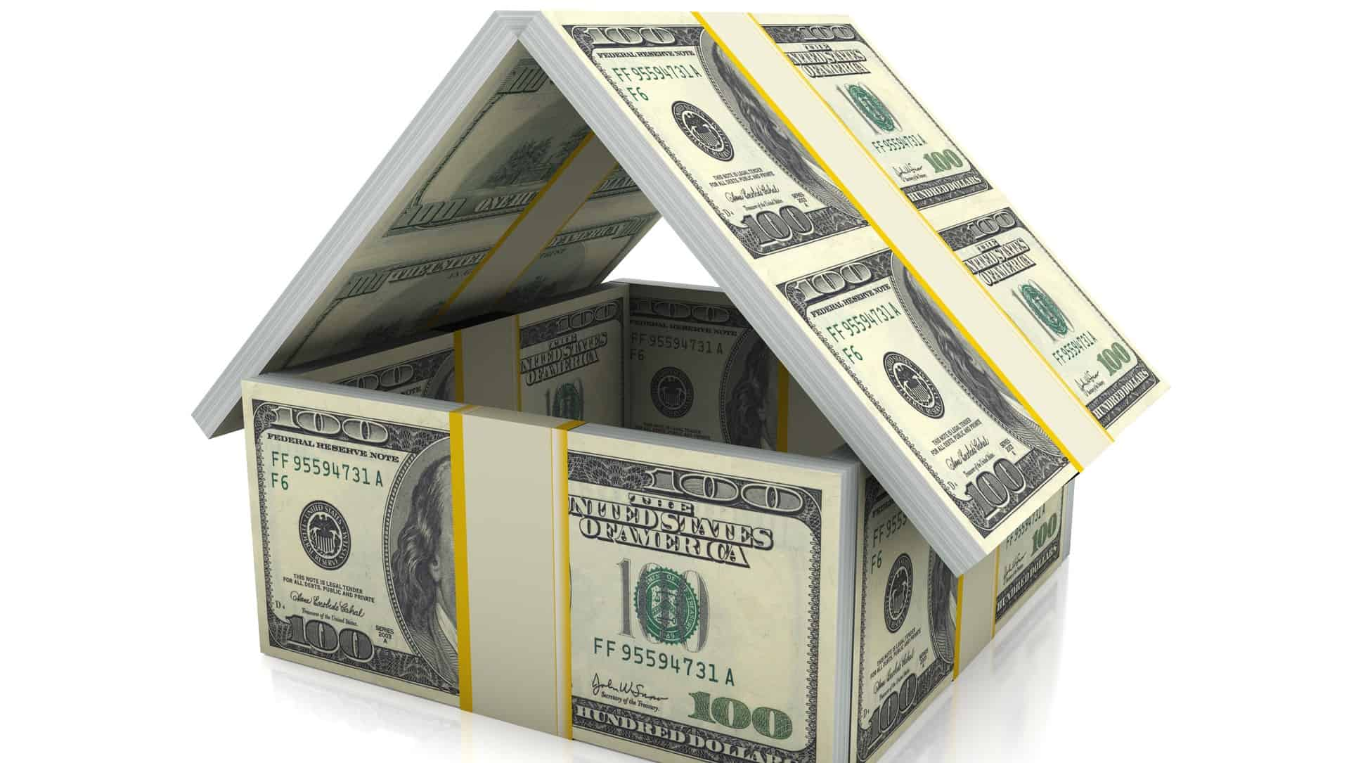 housing asx share price represented by miniature house made from US $100 notes