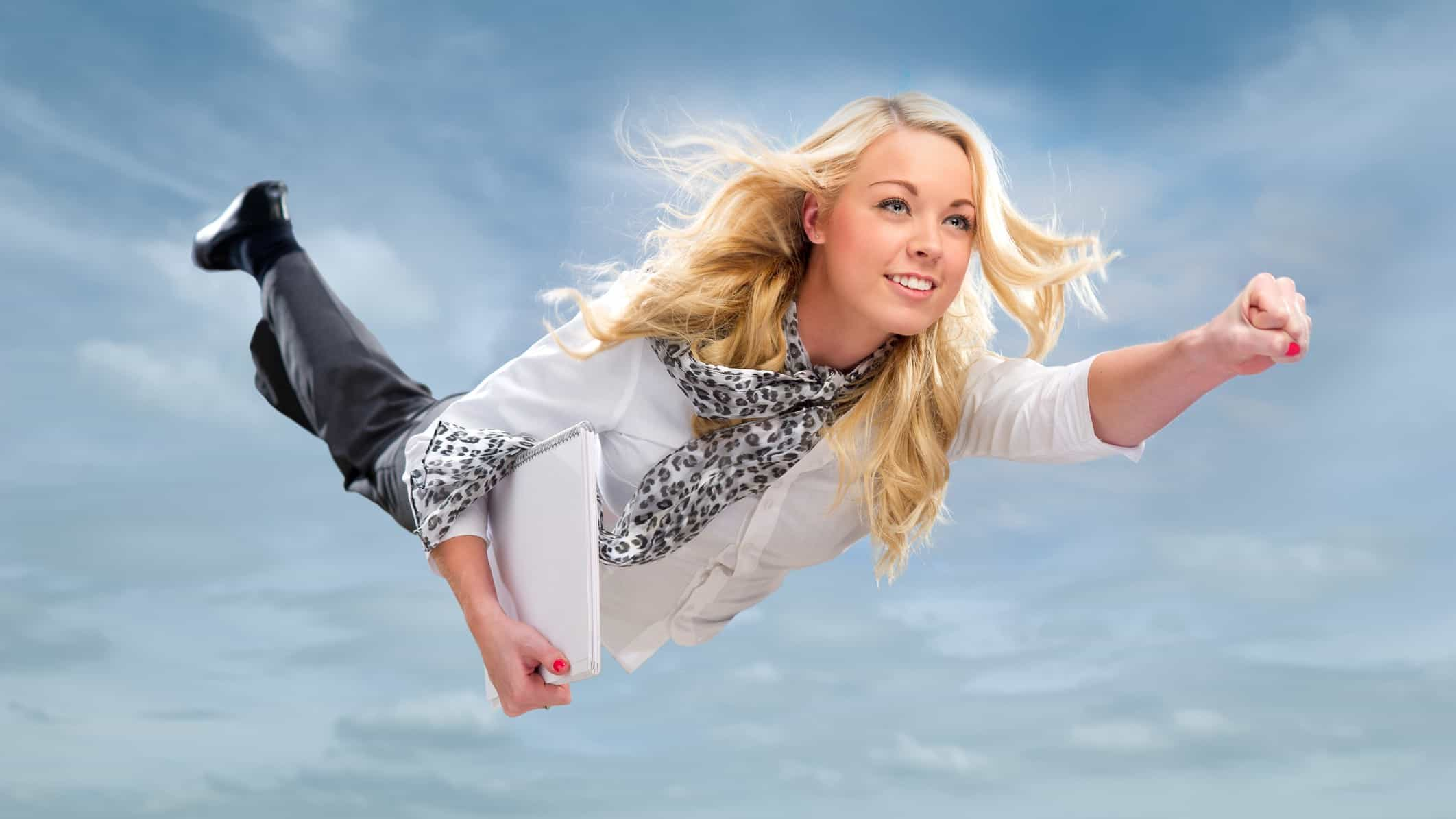 rising asx share price represented by woman flying through the air
