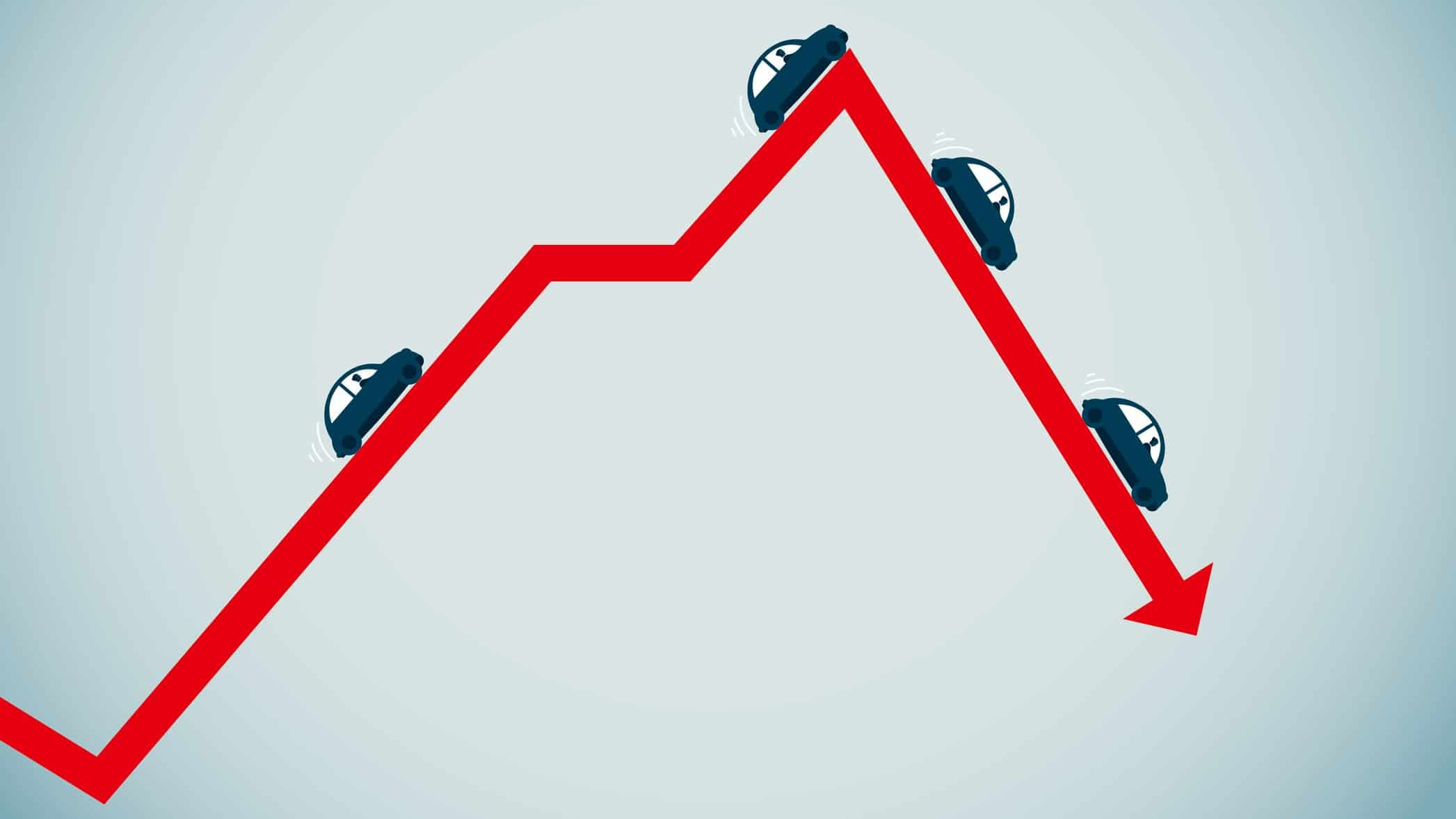 asx share price fall represented by cars driving along a downward red arrow