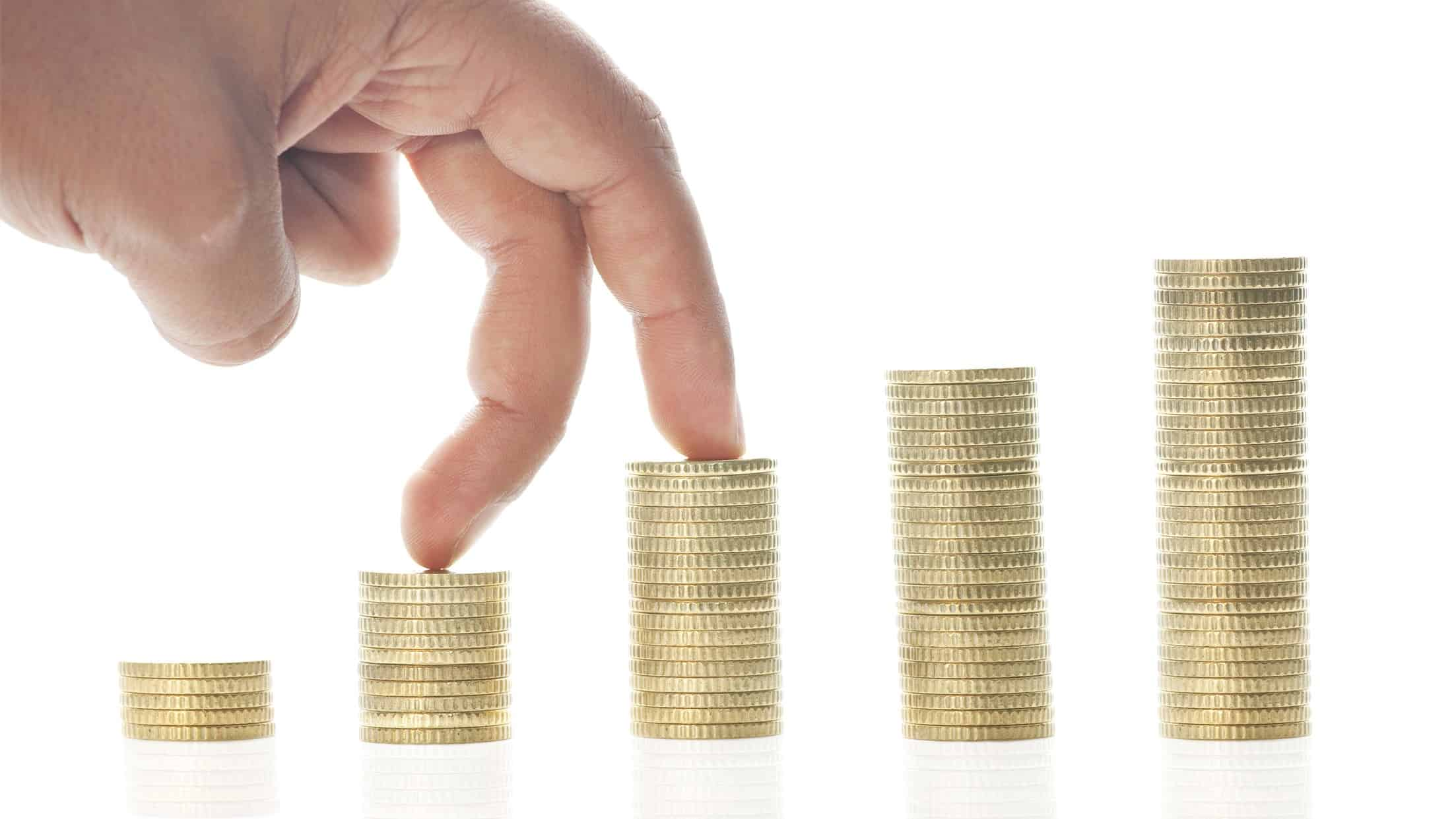 asx share price growth represented by fingers walking along growing piles of coins