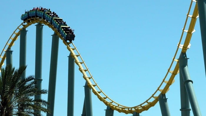 volatile asx share price represented by investors riding a roller coaster