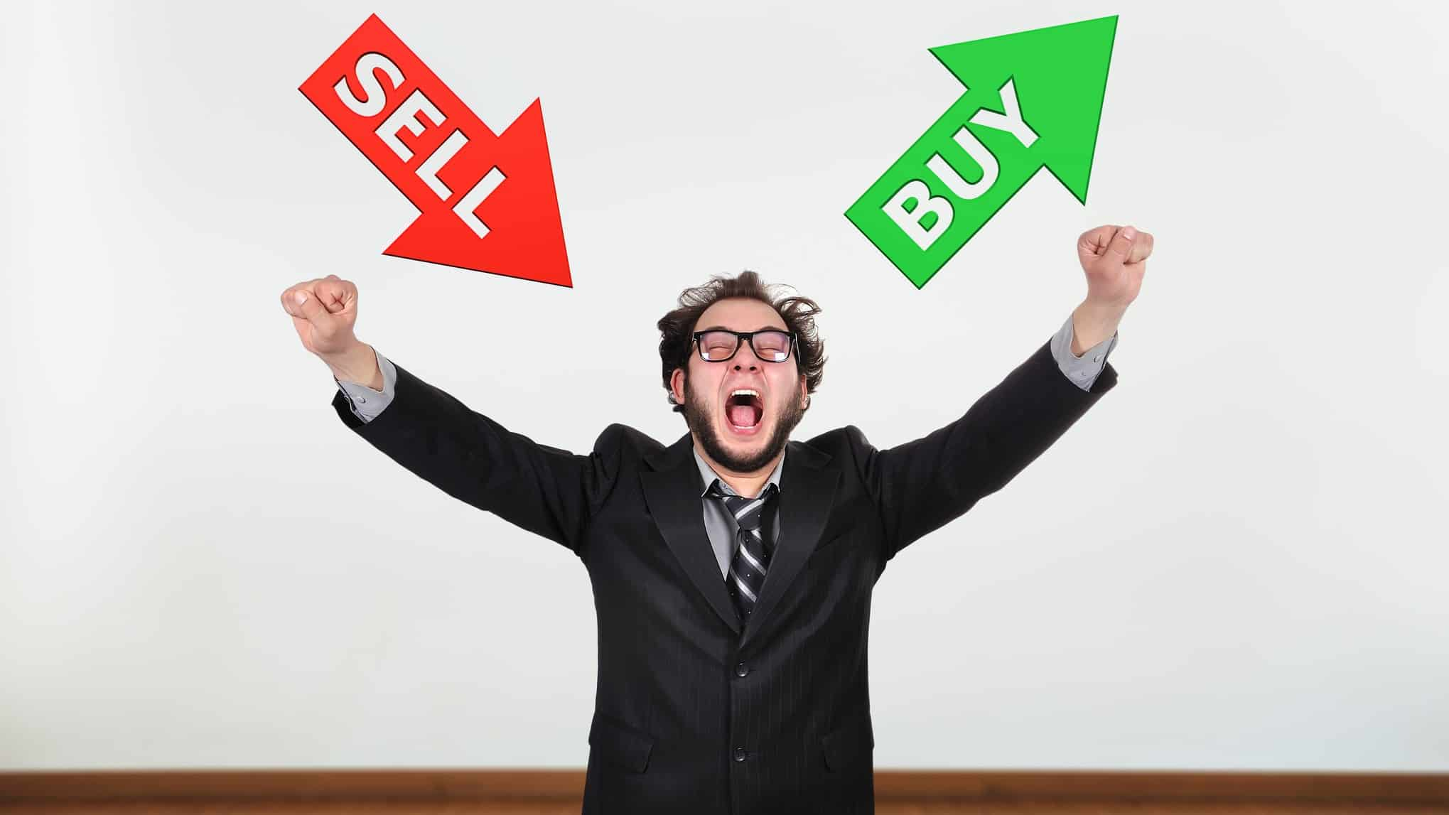 asx shares represented by investor throwing hands up towards icons of buy and sell broker upgrade buy