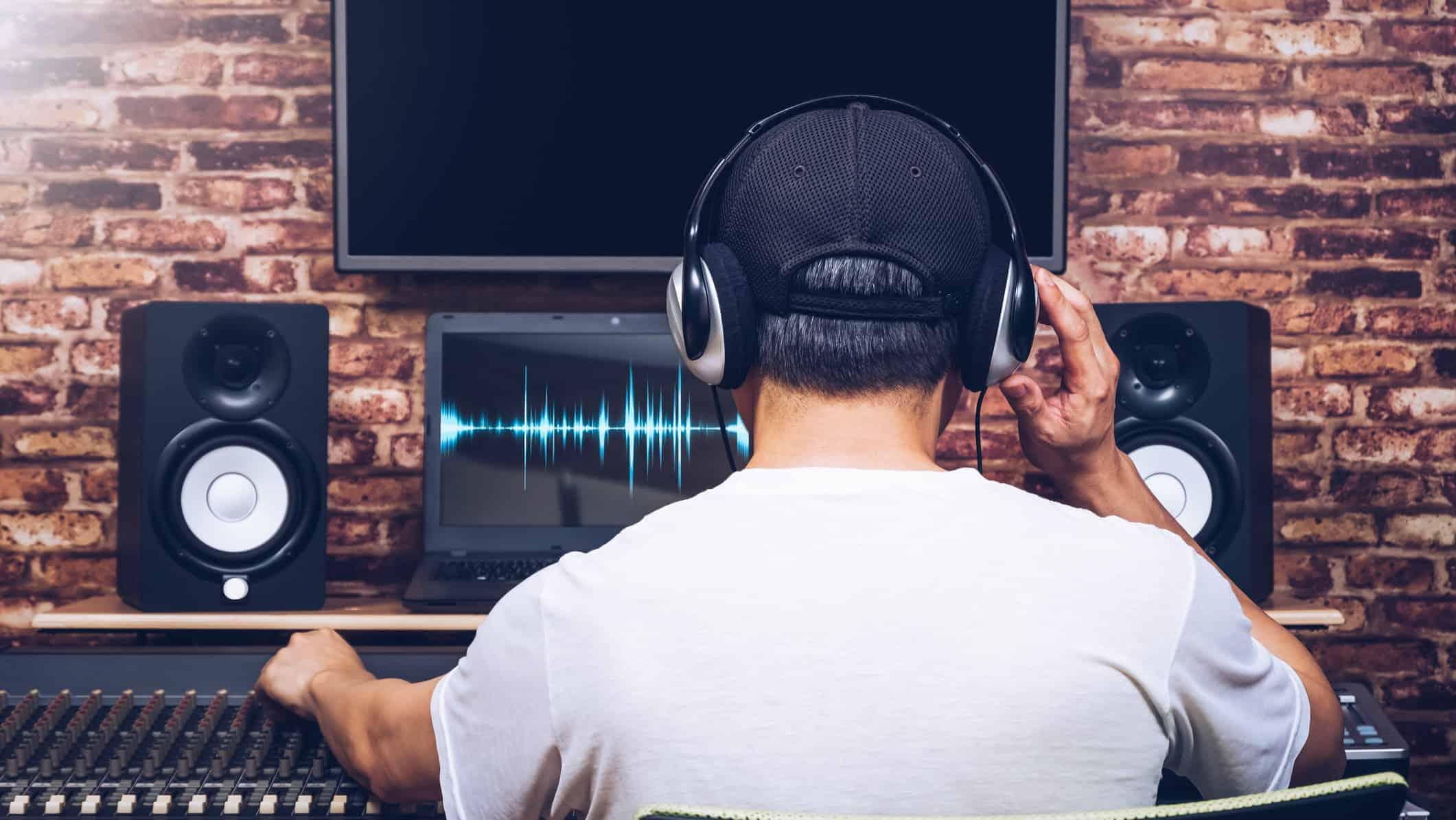 audio engineer mixing desk
