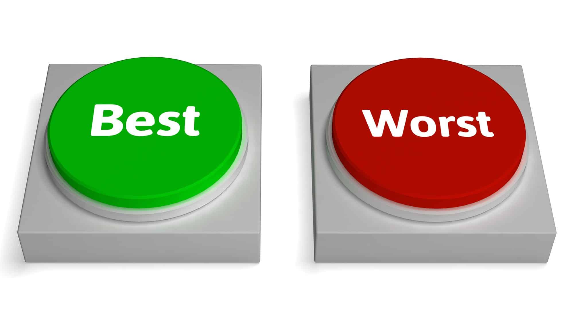 best and worse asx shares represented by green best button and red worst button