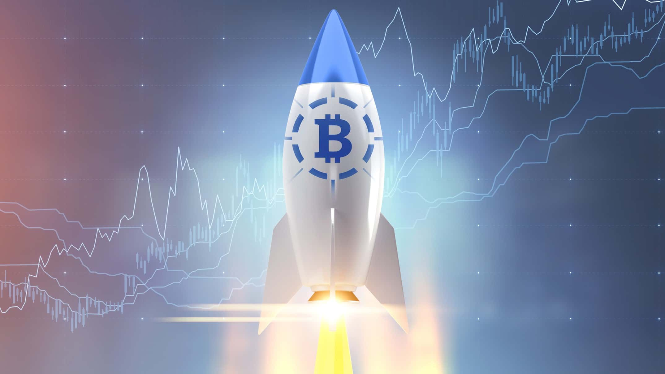 A rocket with a bitcoin symbol take off, indicating a surging or record high price in the cryptocurrency