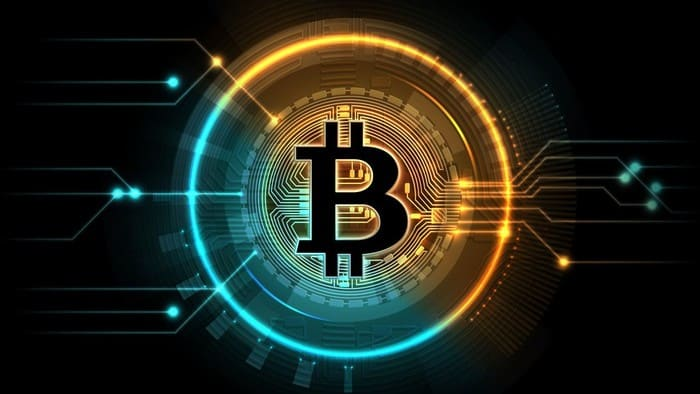 bitcoin image with blue and orange circle