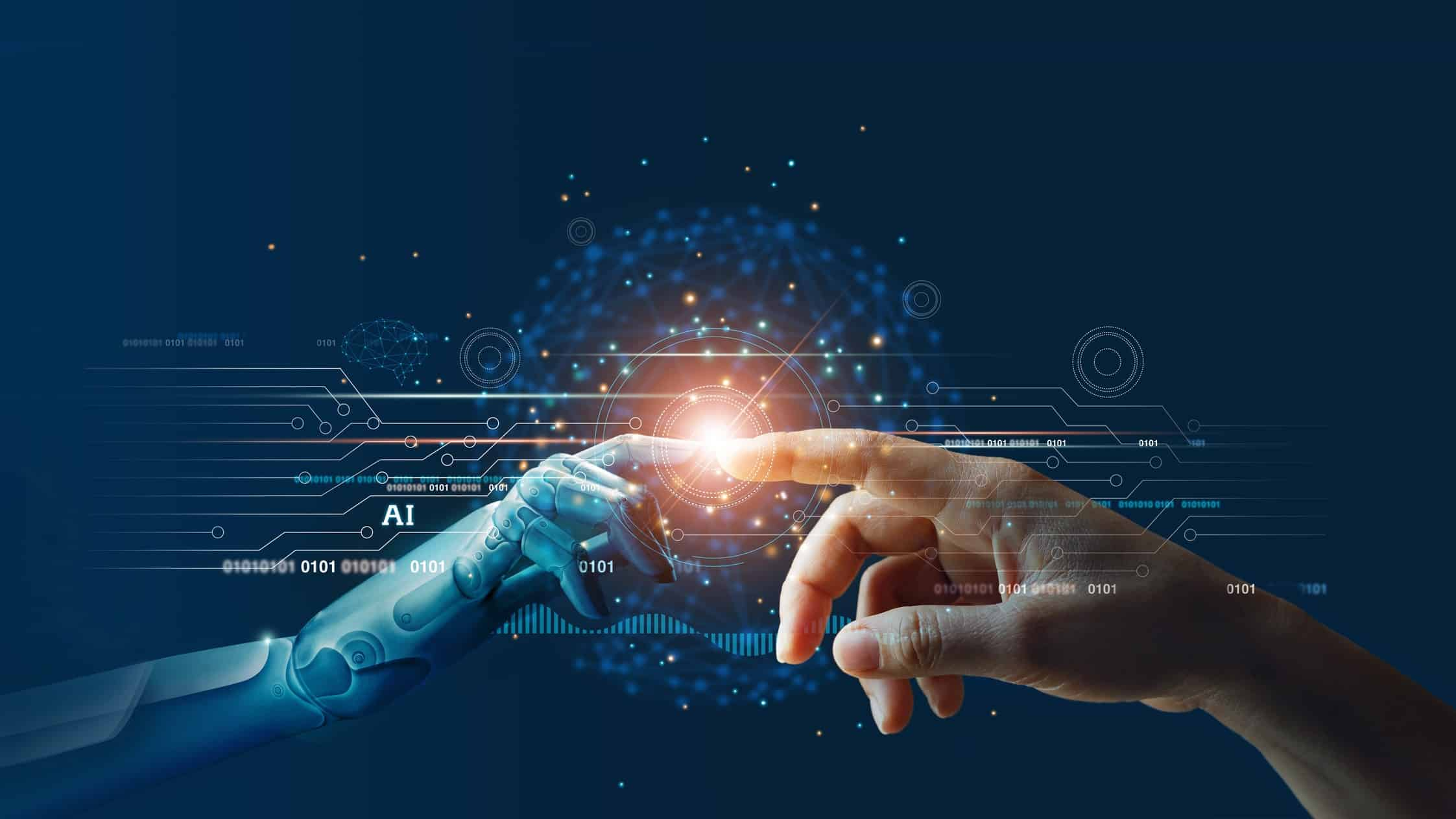 Digitised image of human hand reaching out to touch robotic hand signifying ASX artificial intelligence share price