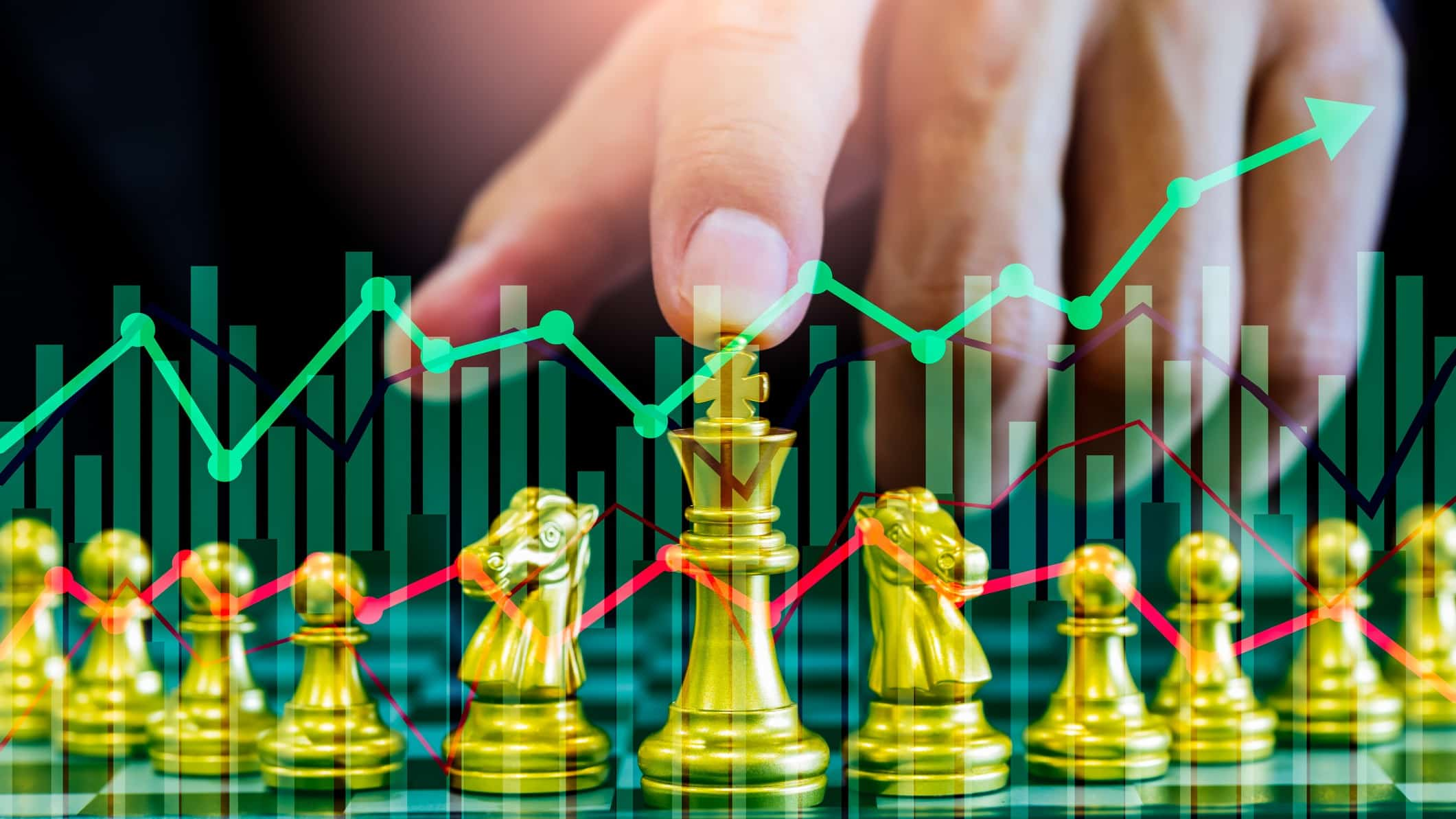 Share investor with chess pieces deciding to buy or sell ASX shares