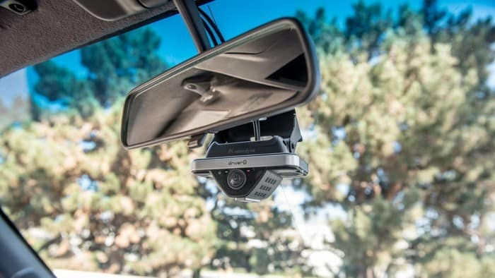Dash cam fitted inside vehicle