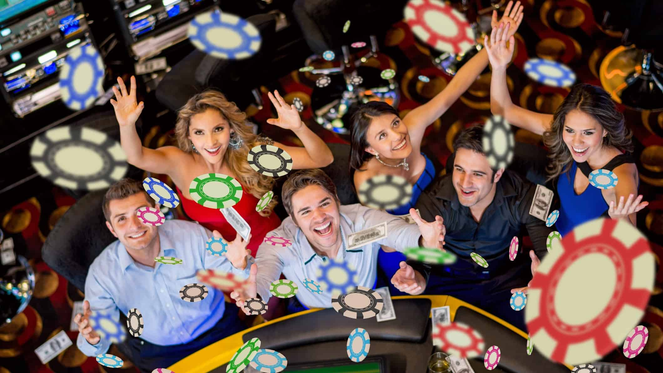 Rising ASX share price represented by casino players throwing chips in the air