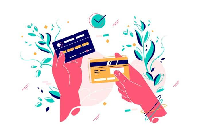 graphic depicting two hands holding credit cards