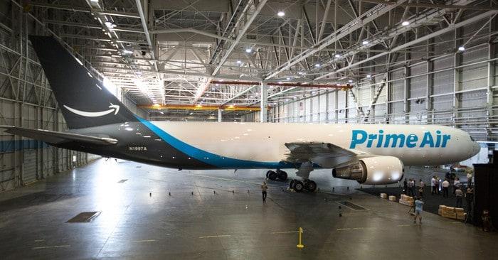Amazon Prime airplane in airport hangar