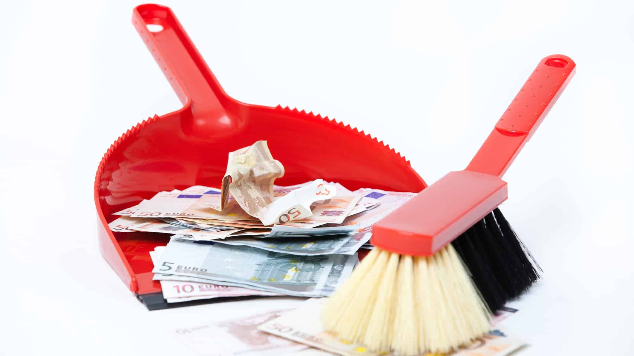 falling waste ASX share price represented by broom sweeping cash into dust pan