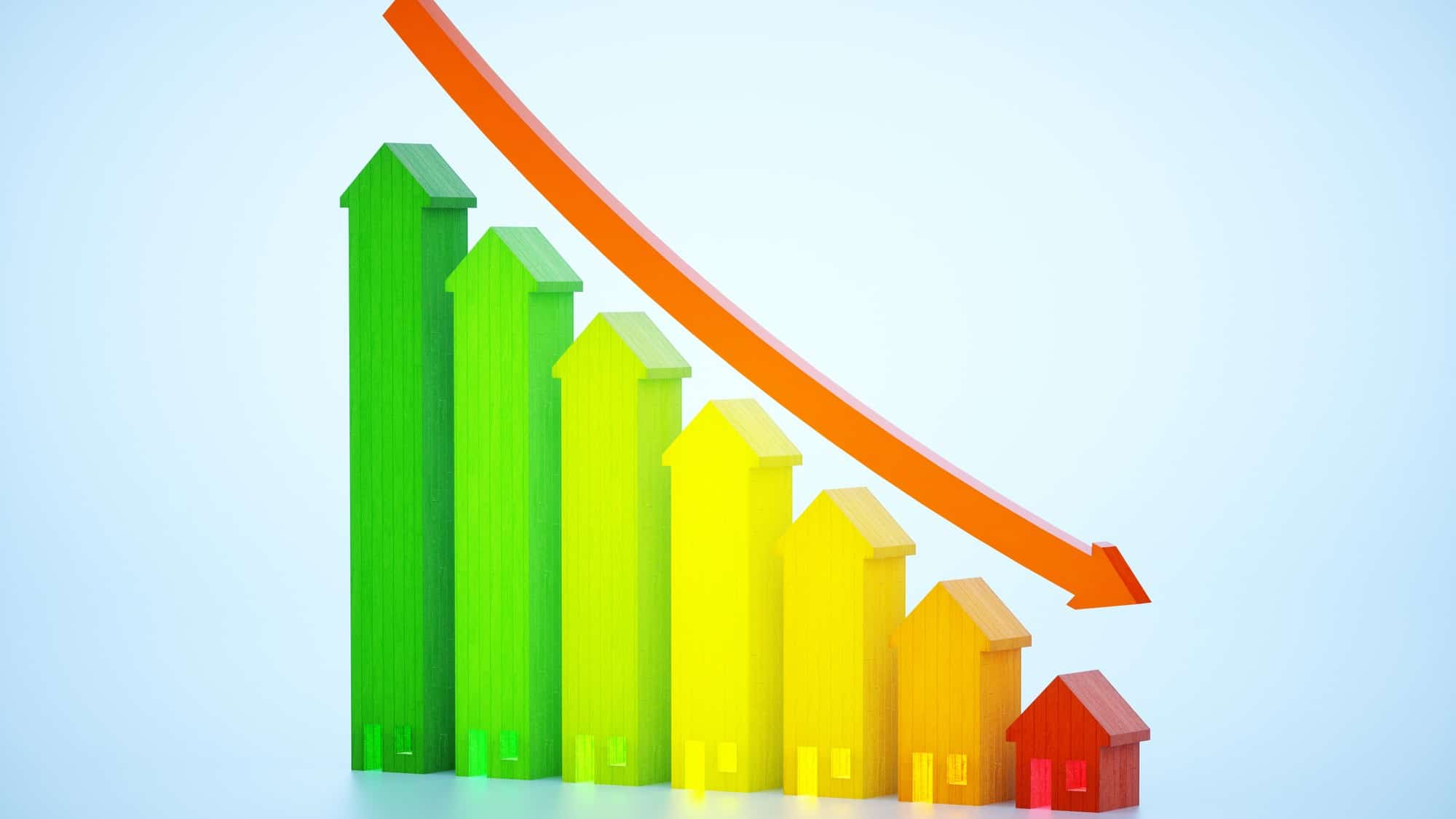 falling bar graph representing house prices and asx share price