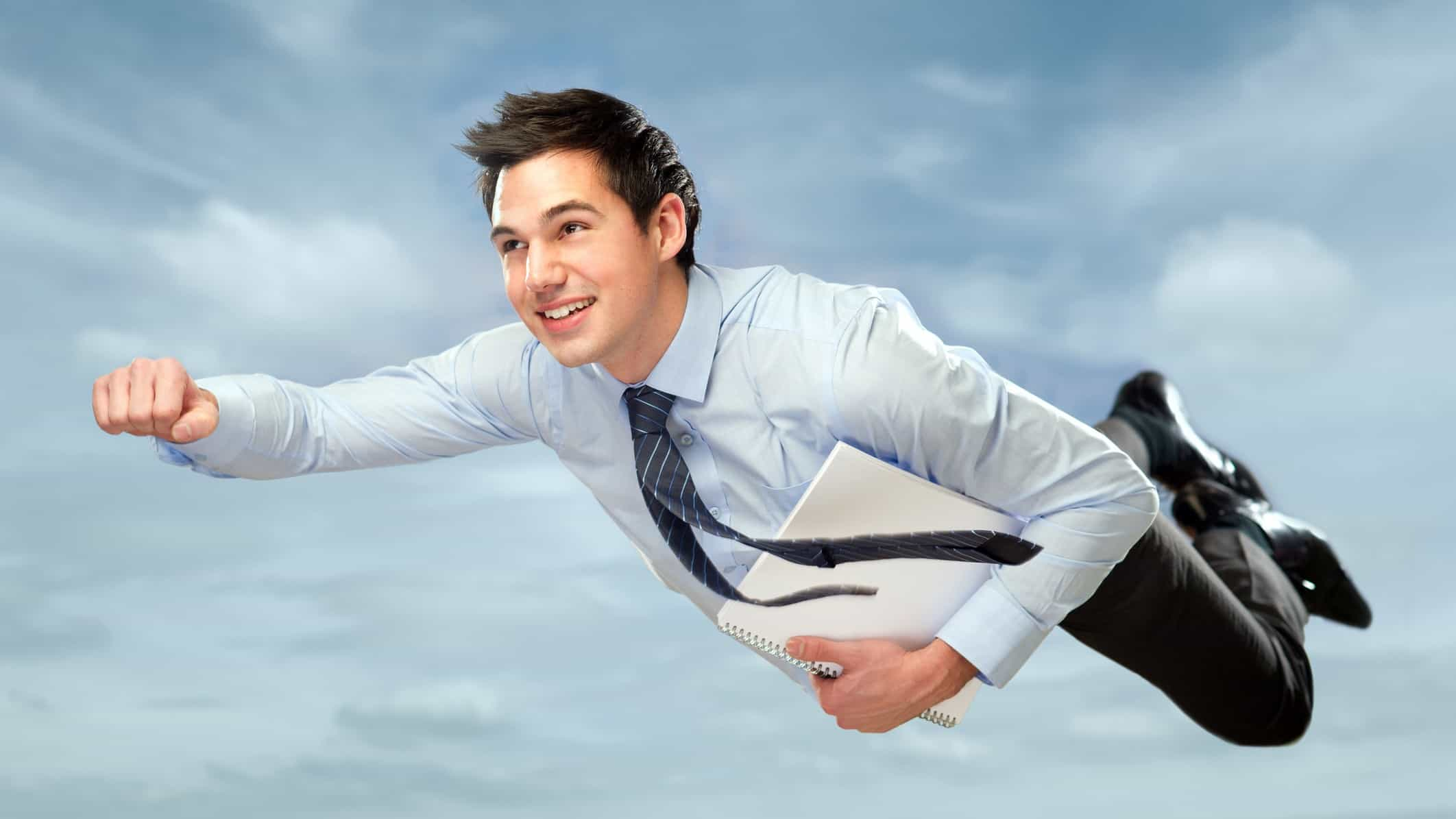 flying asx share price represented by businessman flying through the air