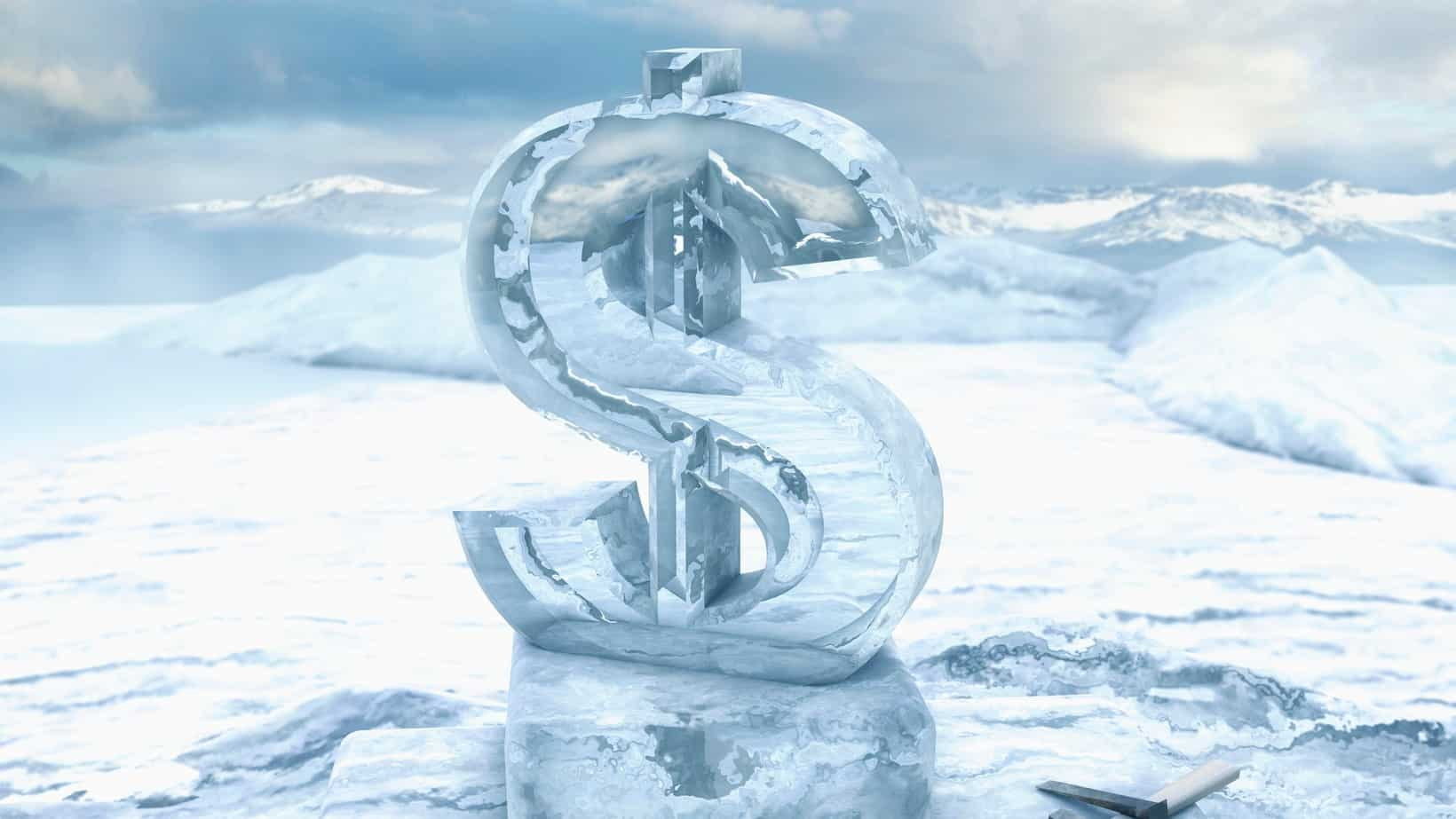 A dollar sign embedded in ice, indicating a share price freeze or trading halt