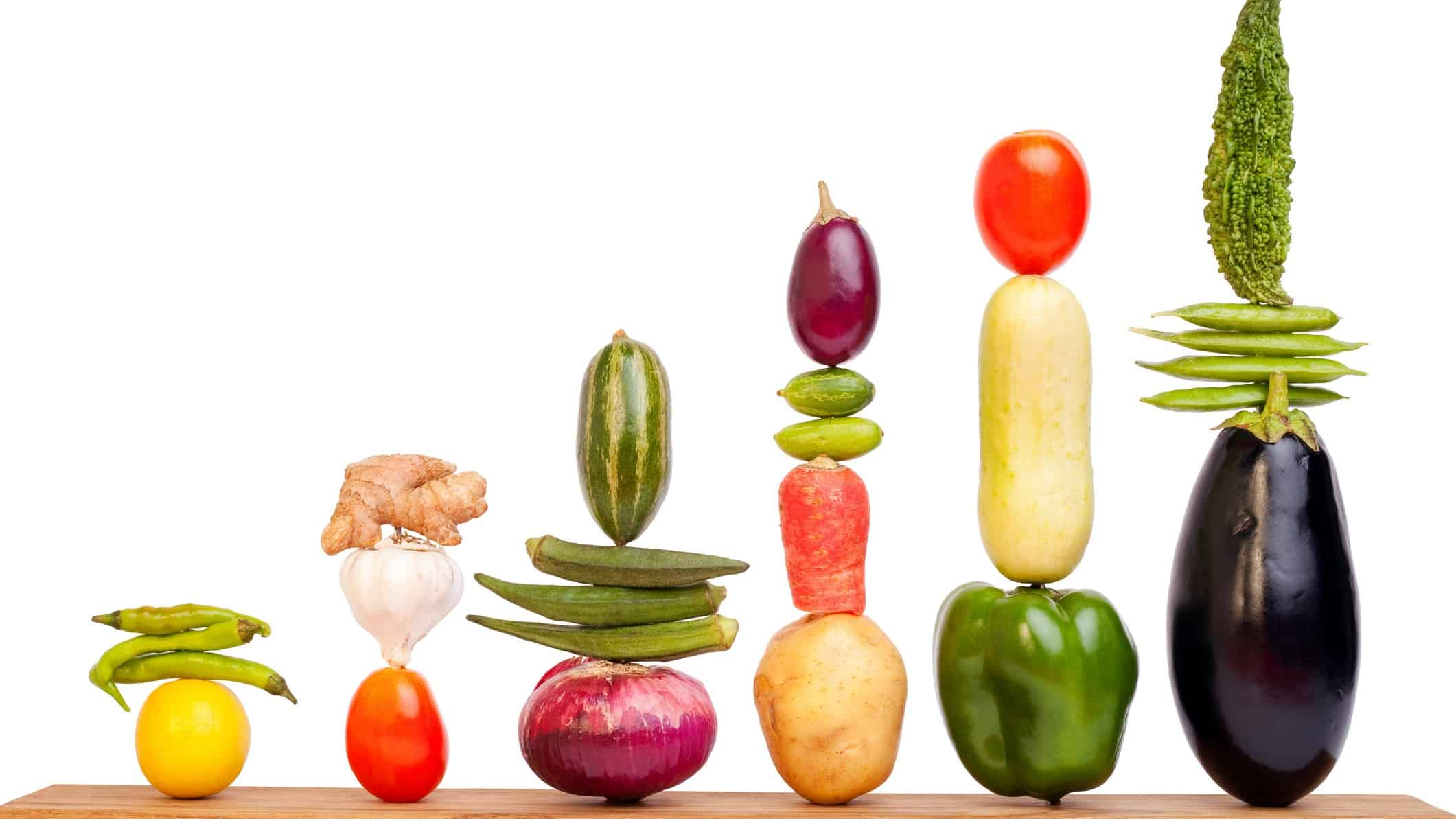 fruit and veg share price represented by rising bar chart made from fruit and vegetables
