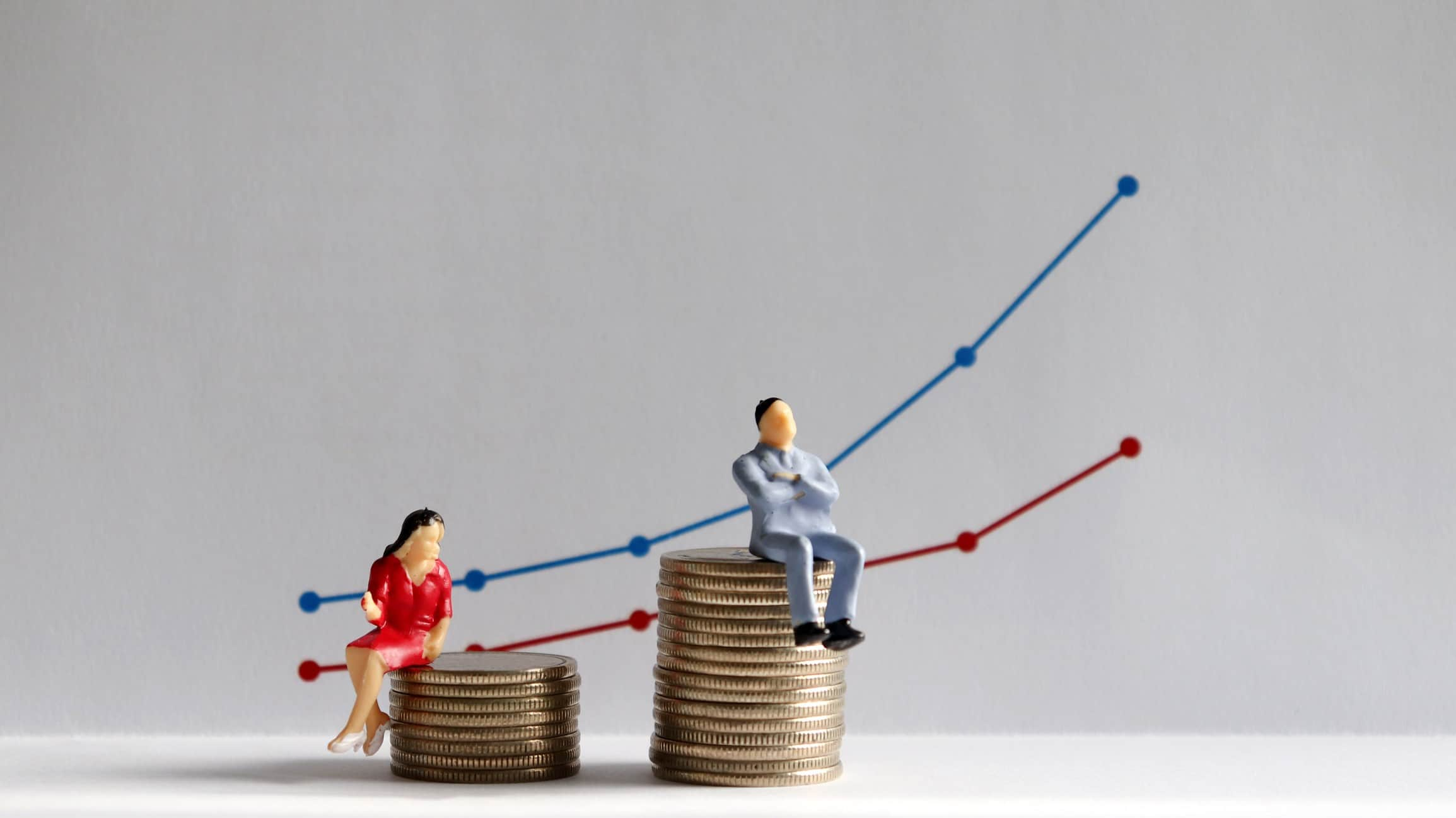 graph and image of man nd woman sitting on coins which illustrates gender gap