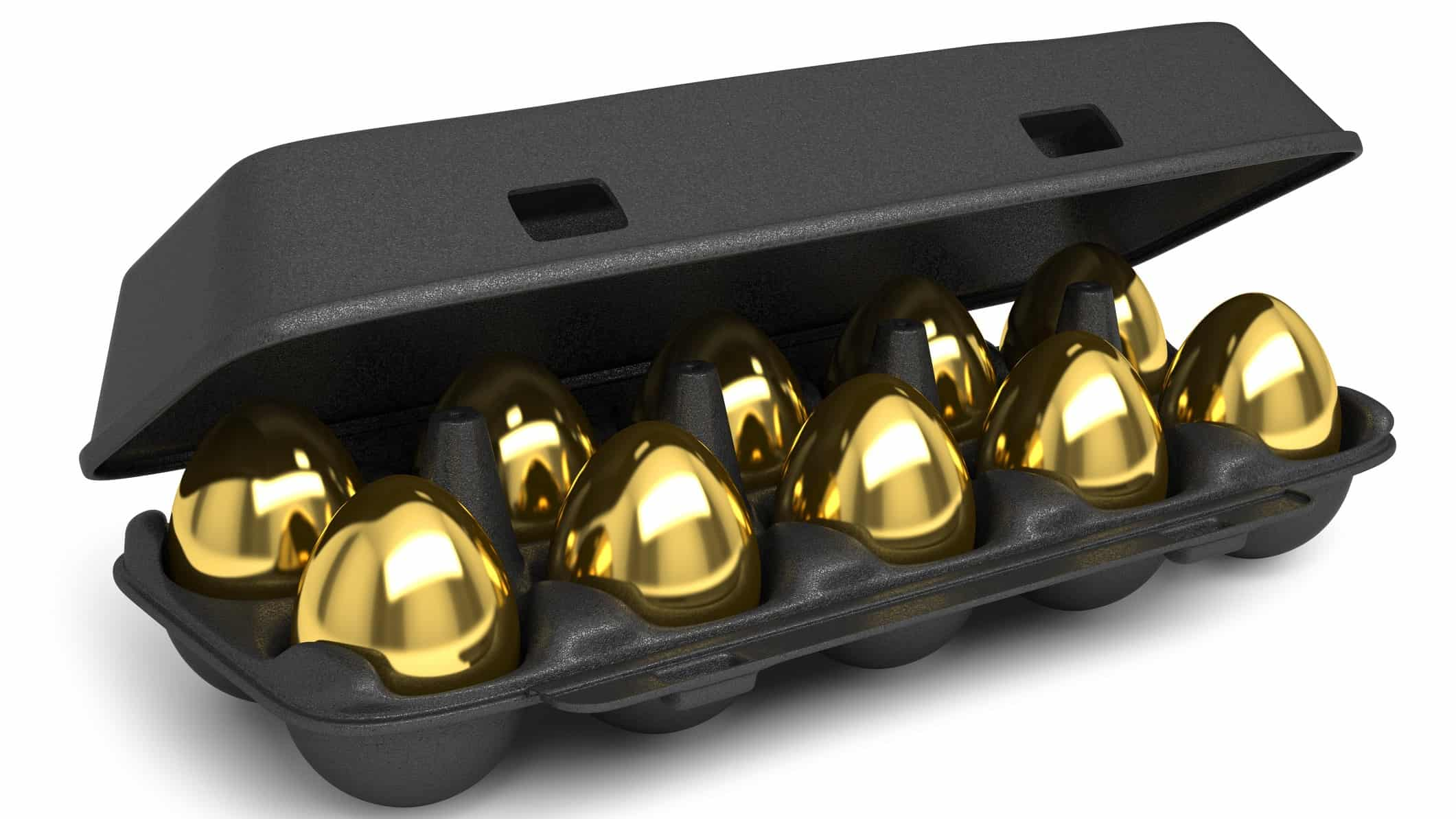 gold investment represented by carton of golden eggs