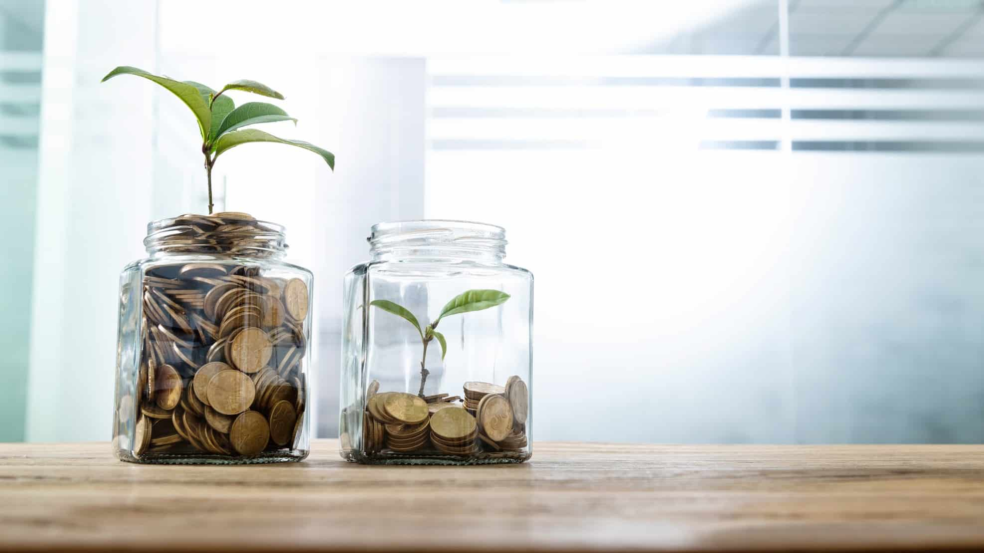 Two small seedlings planted in two jars atop different amounts of coins, indicating share price movements for ASX growth and value shares