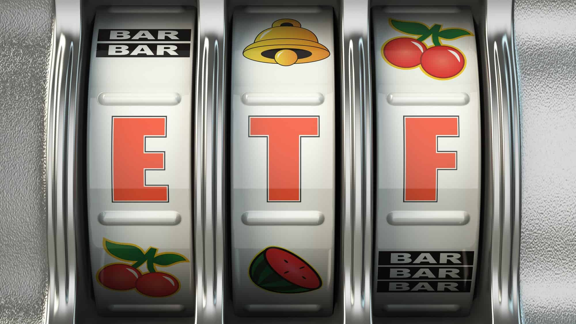 growth exchange traded fund represented by letters ETF on slot machine
