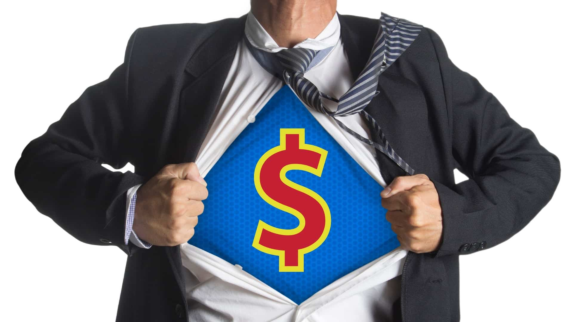 A business man open his shirt to reveal a superhero style $ on his chest, indicating a strong ASX share price