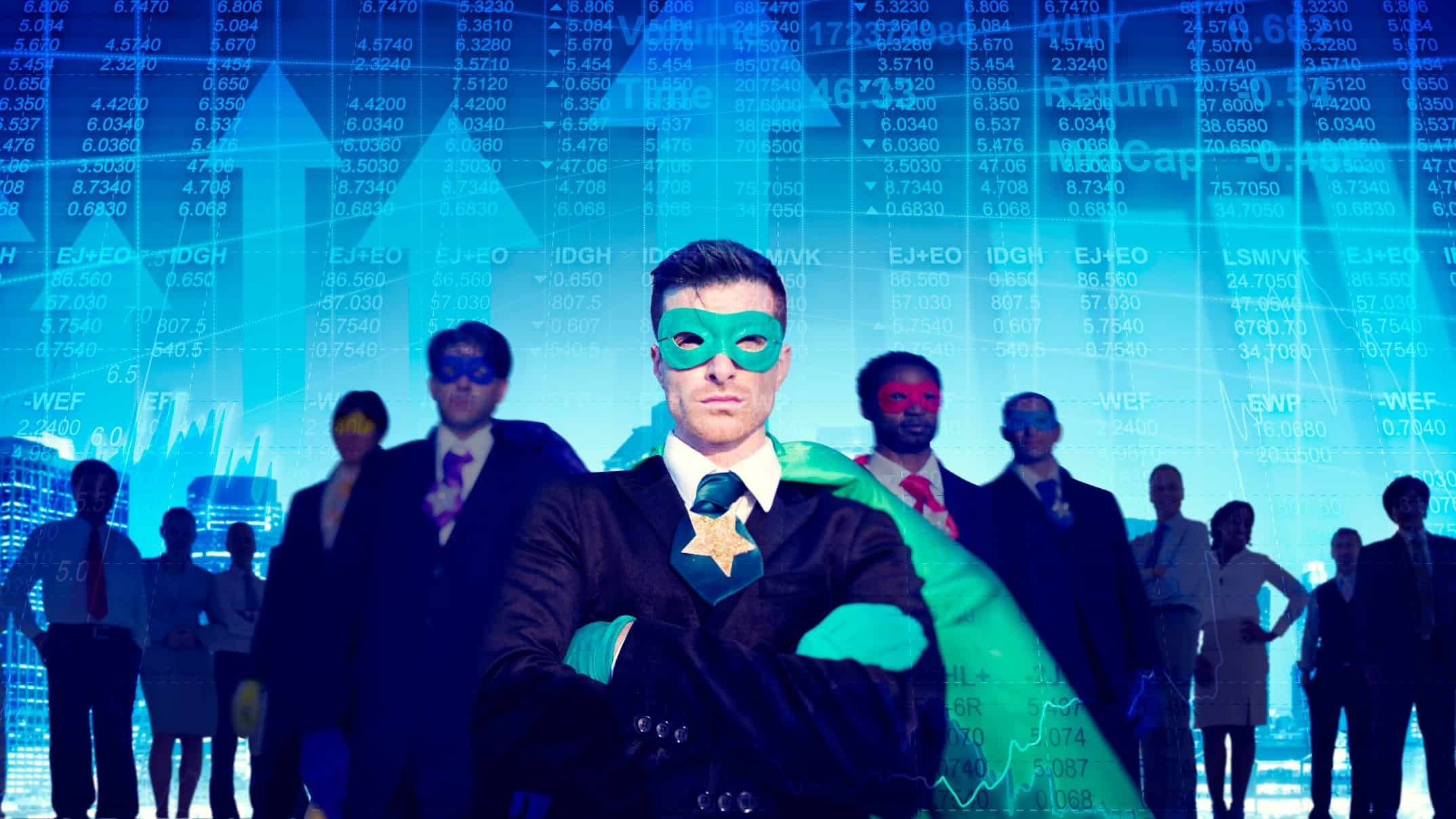 Heroes in masks and capes stand before the ASX share market, ready to save the day