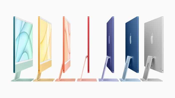 7 different coloured iMac's