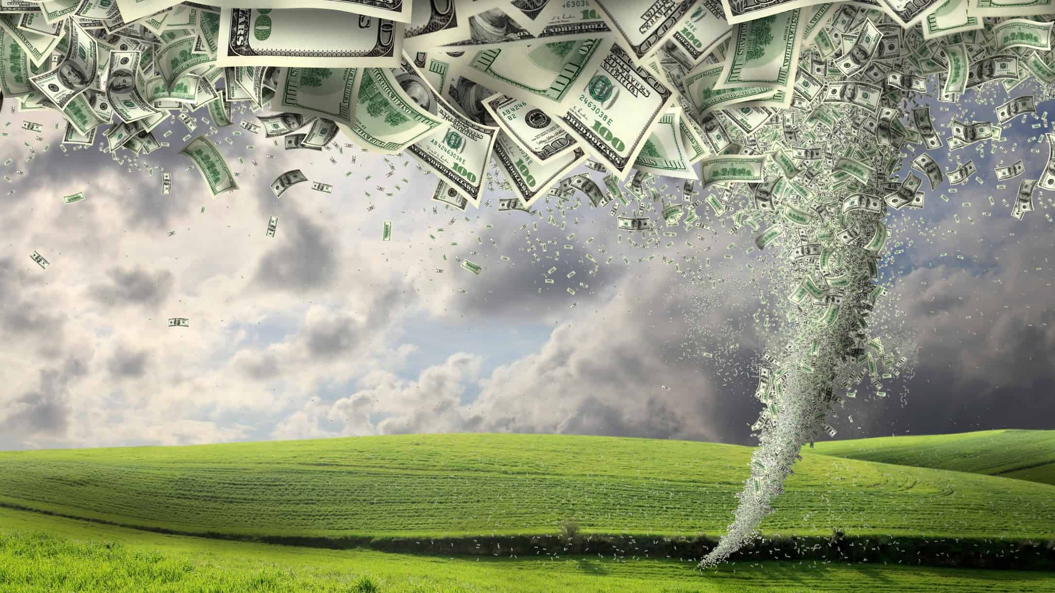 ASX shares federal budget 2021 climate investment opportunity represented by tornado made of dollar notes