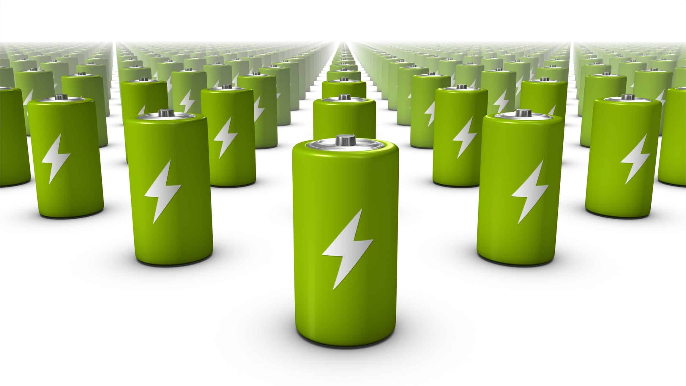 A line-up of green lithium batteries, indicating positive share price movement for clean ASX lithium miners