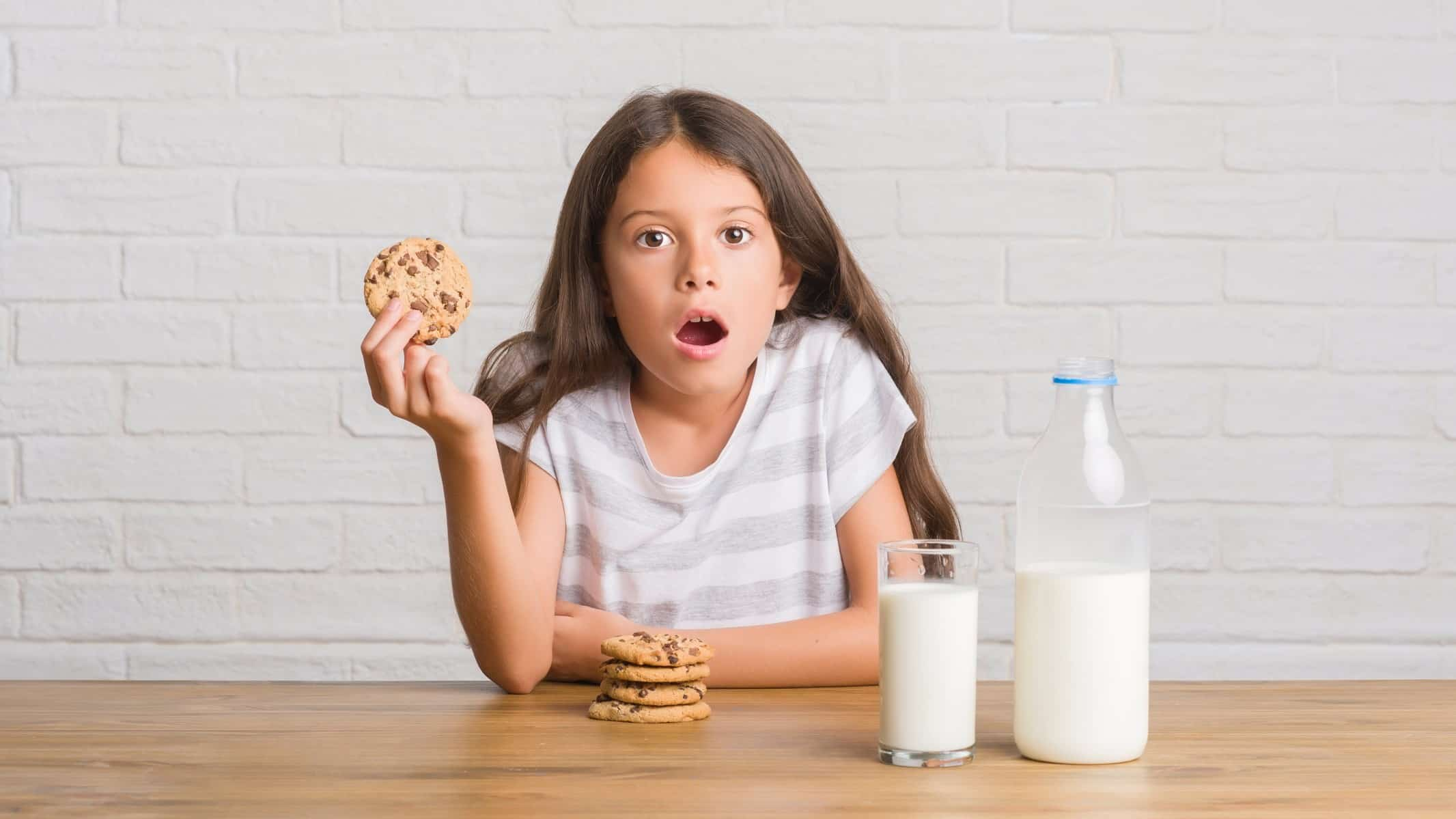 falling share price represented by wide eyed girl next to glass of milk