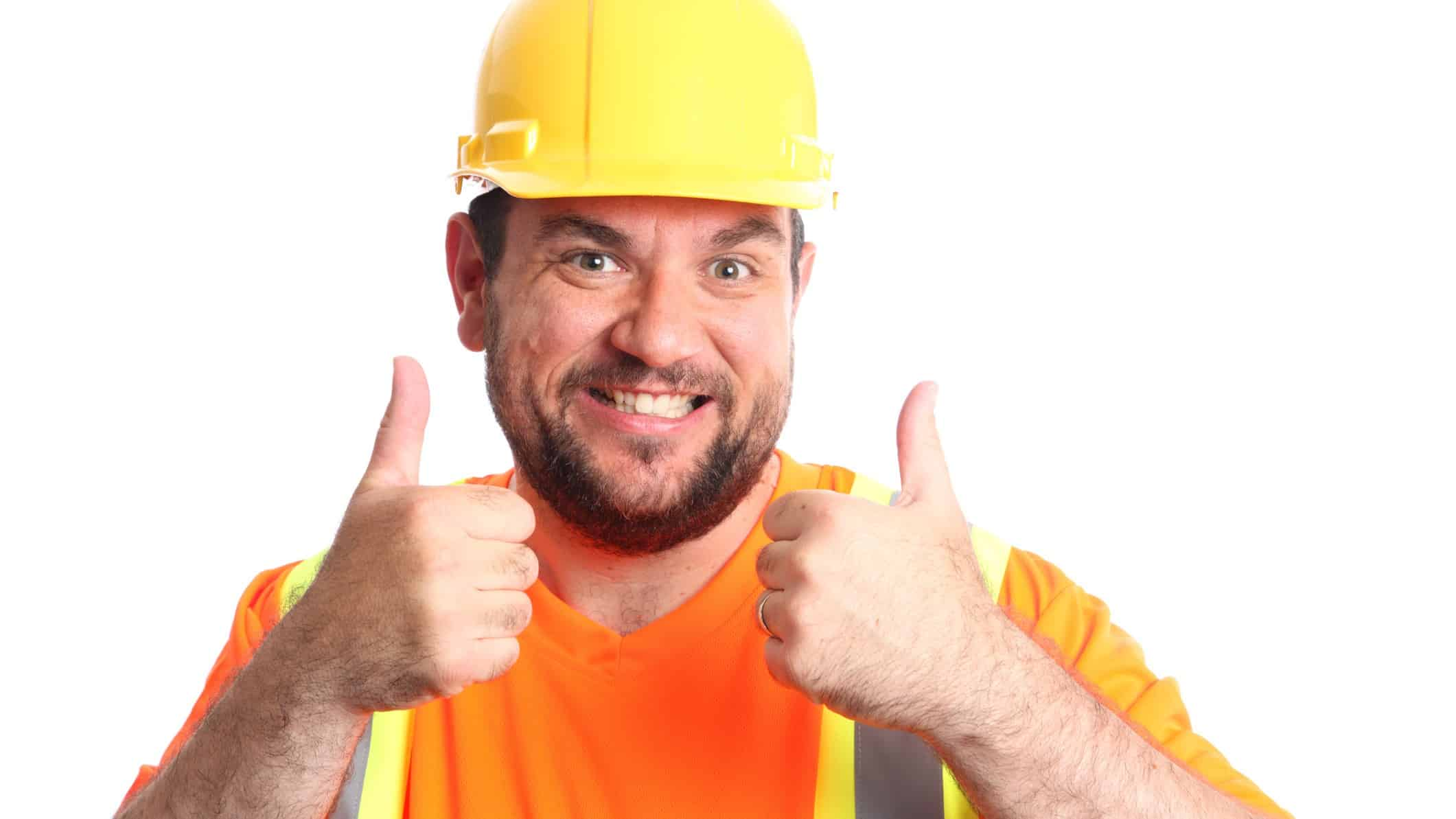 ASX shares China GDP happy worker does the thumbs up, indicating a rising share price in mining or construction