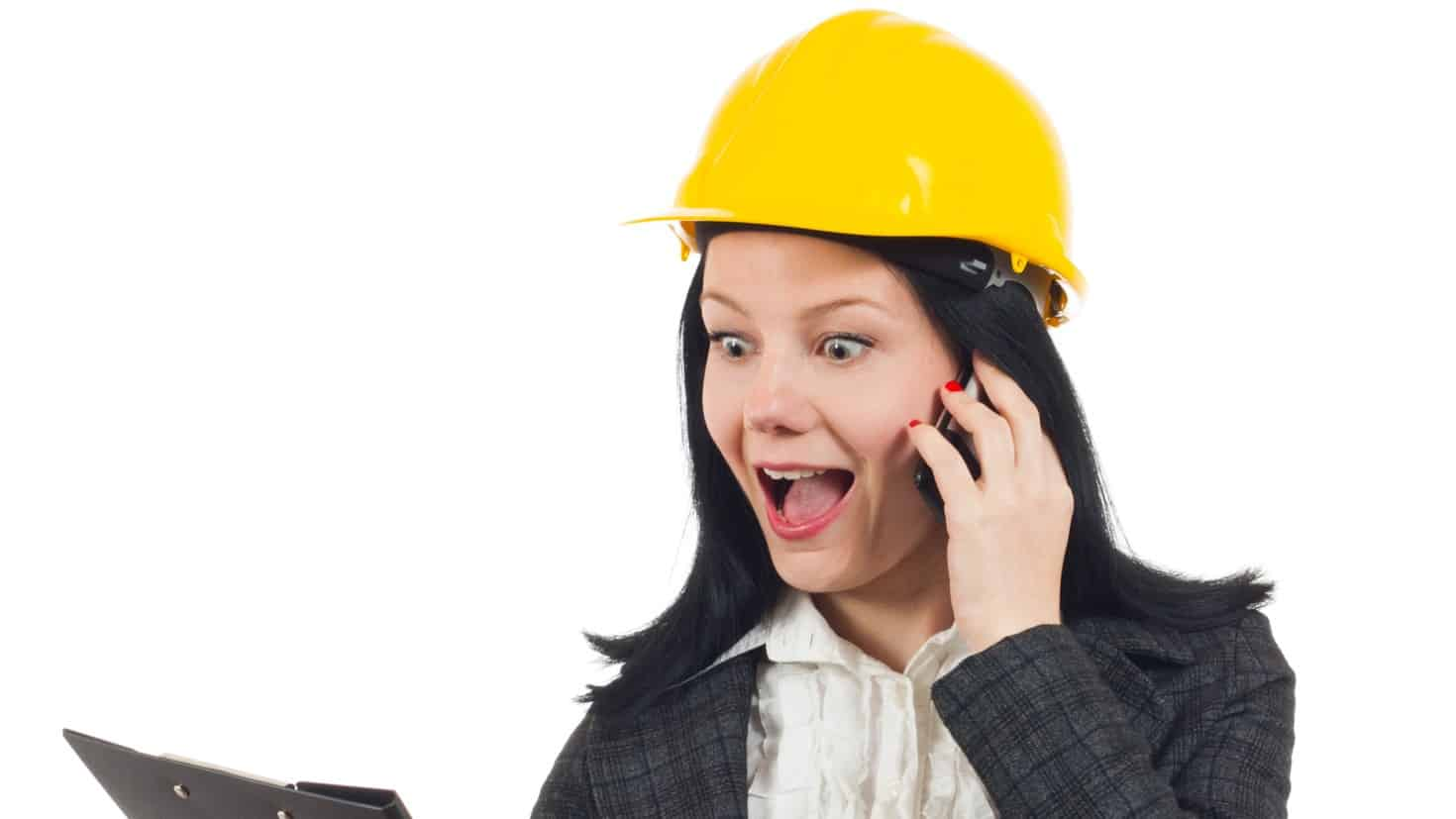 asx share price rise represented by woman in hard hat on phone looking excited