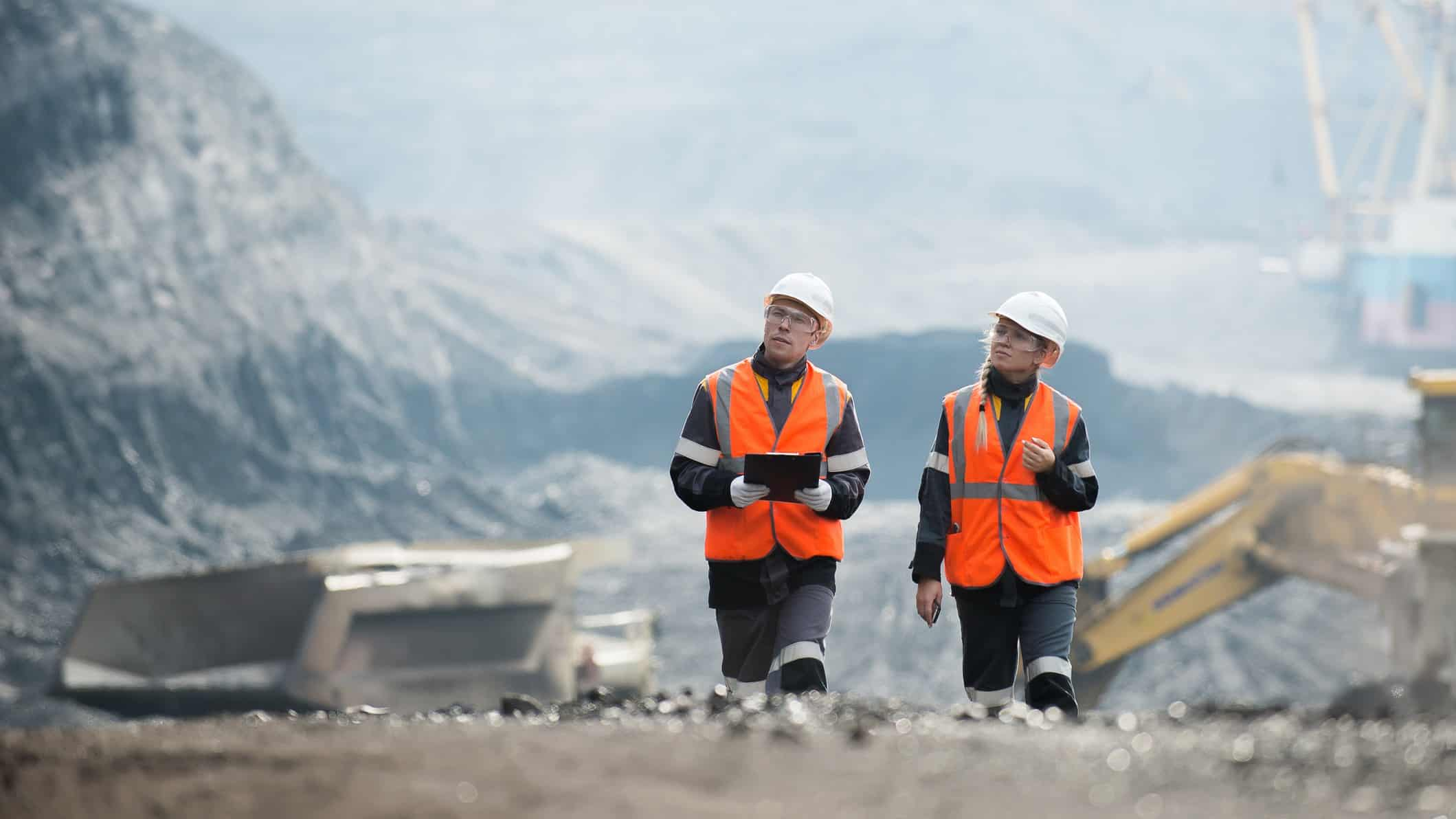2 people at mining site, bhp share price, mining shares