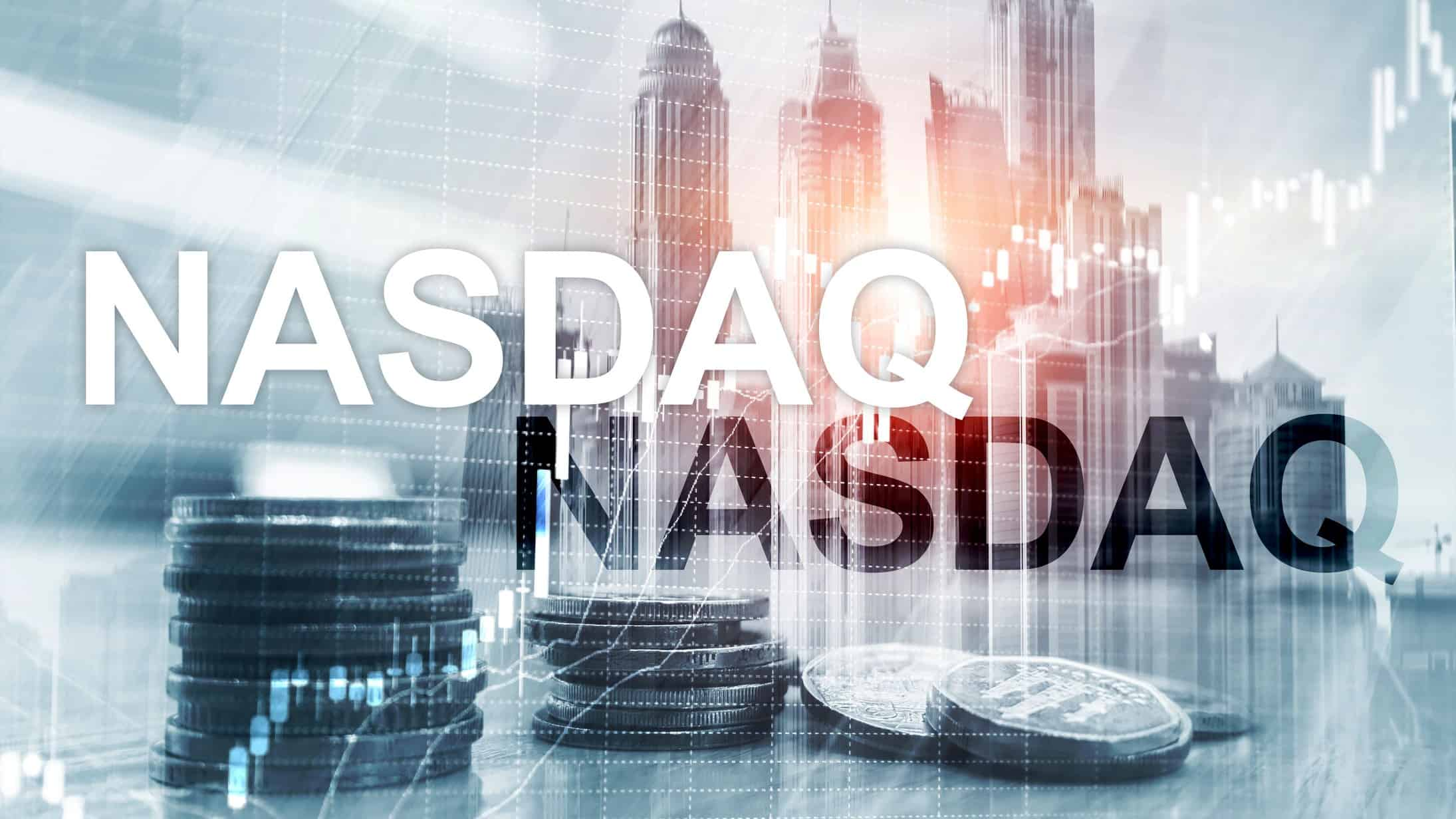 A graphic illustration with the words NASDAQ atop a US city and currency