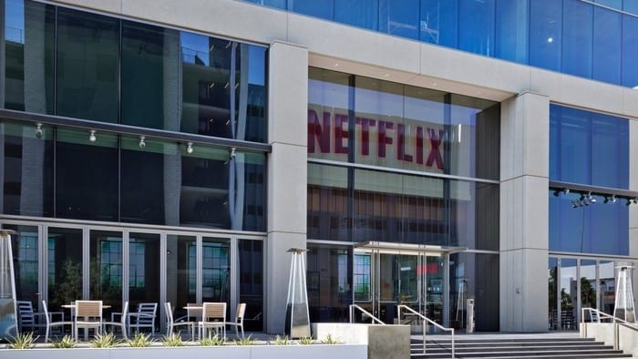 netflix building with the logo in red
