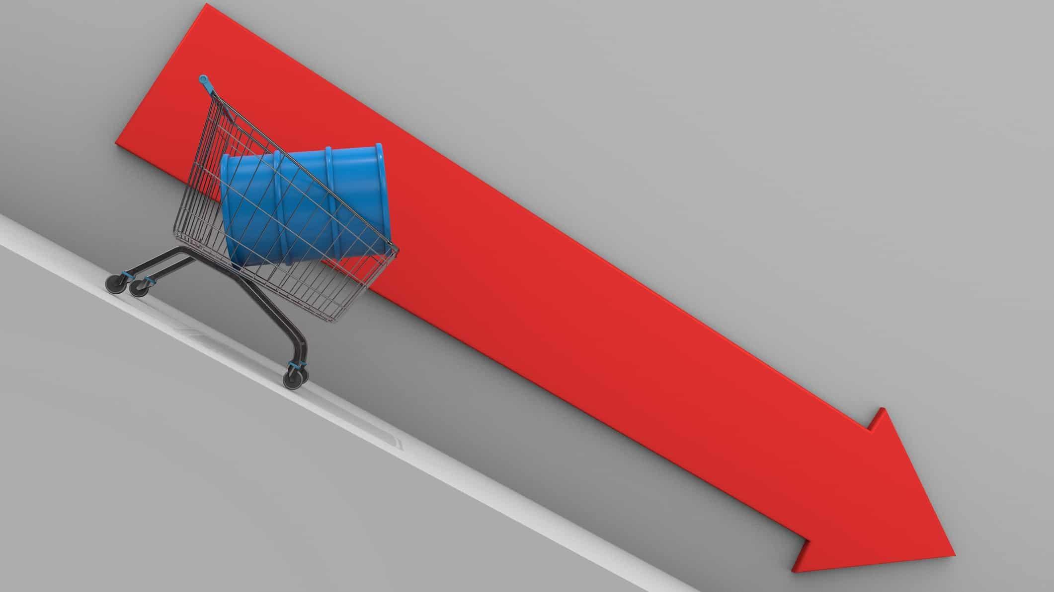 barrel of oil in a shopping trolley sliding down red arrow representing OPEC+ split ASX energy stocks