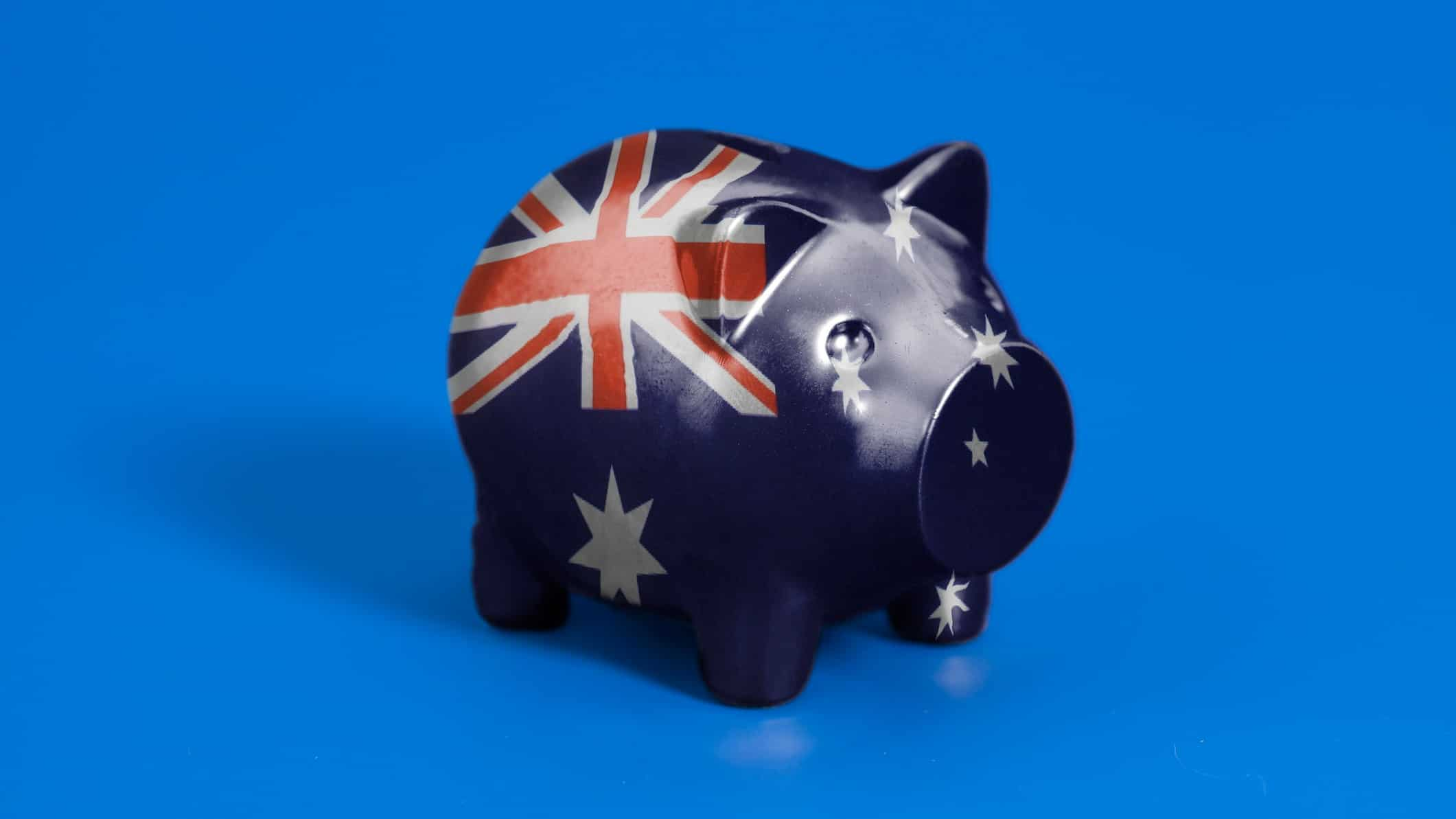 piggy bank printed with australian flag