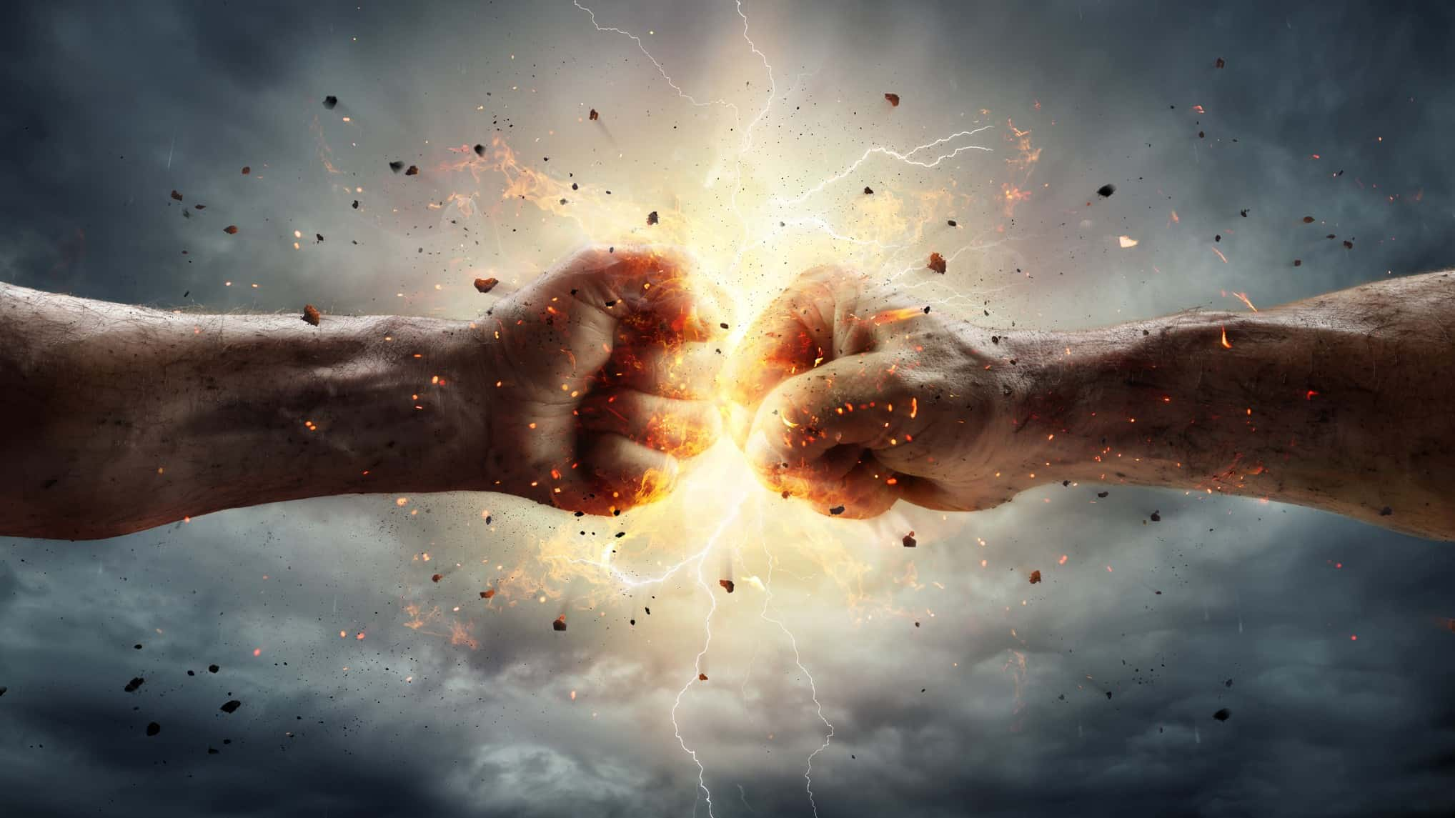 Two fists connect in a surge of power, indicating strong share price growth or new partnerships for ASC mining and resource companies