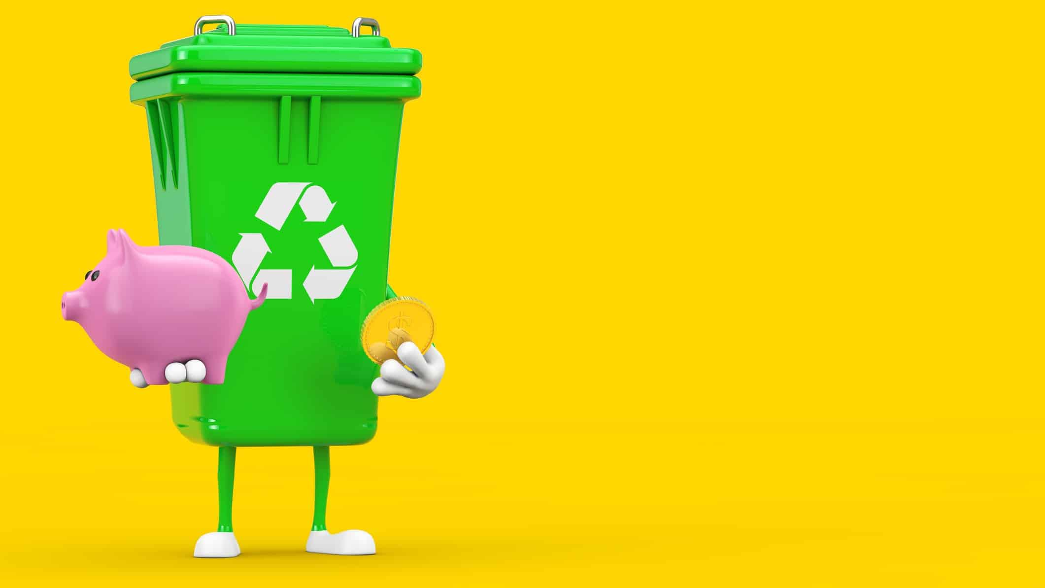 recycling asx share price represented by bin holding piggy bank and coin