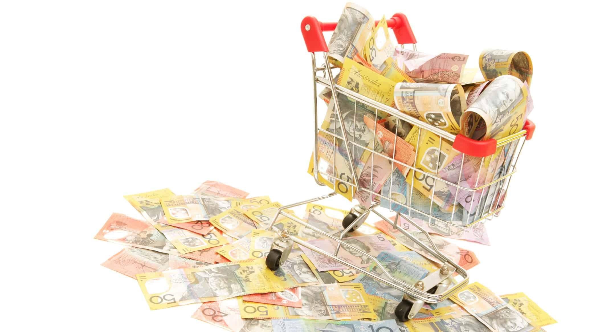 retail asx share price represented by shopping trolley full of cash